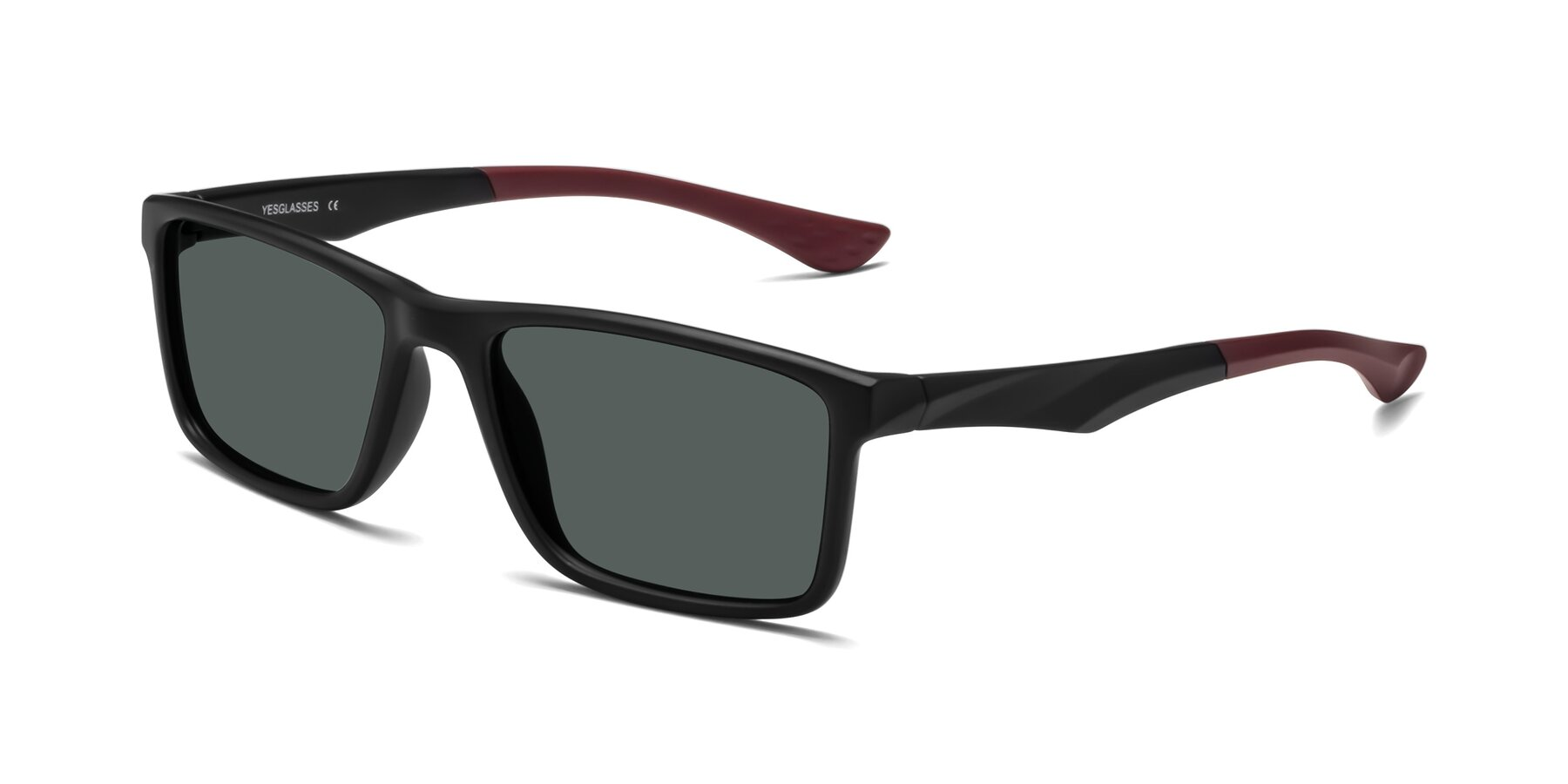 Angle of Engineer in Matte Black-Wine with Gray Polarized Lenses