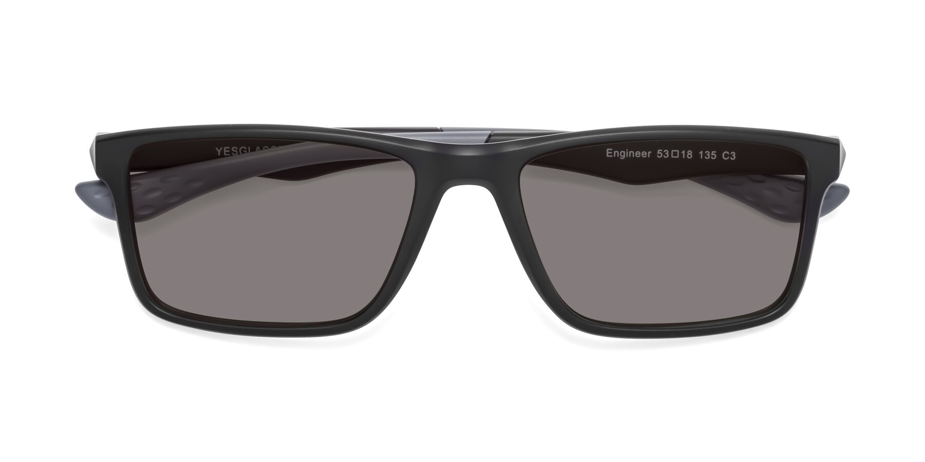 Folded Front of Engineer in Matte Black-Gray with Medium Gray Tinted Lenses