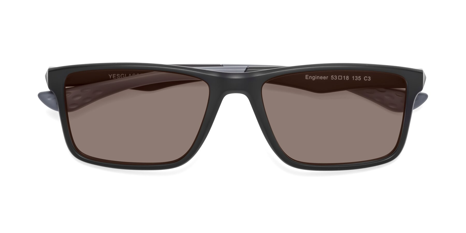 Folded Front of Engineer in Matte Black-Gray with Medium Brown Tinted Lenses