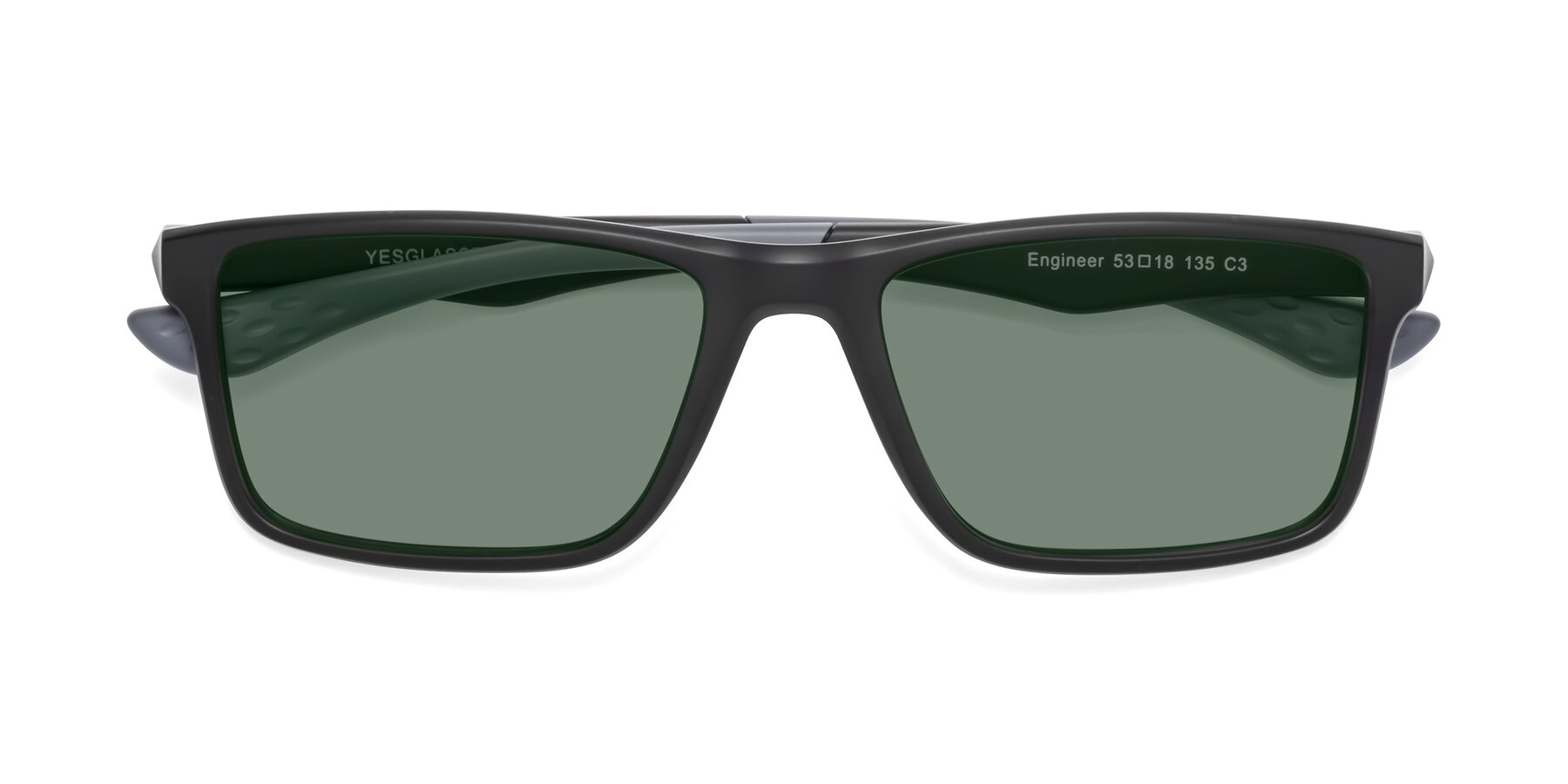 Folded Front of Engineer in Matte Black-Gray with Medium Green Tinted Lenses