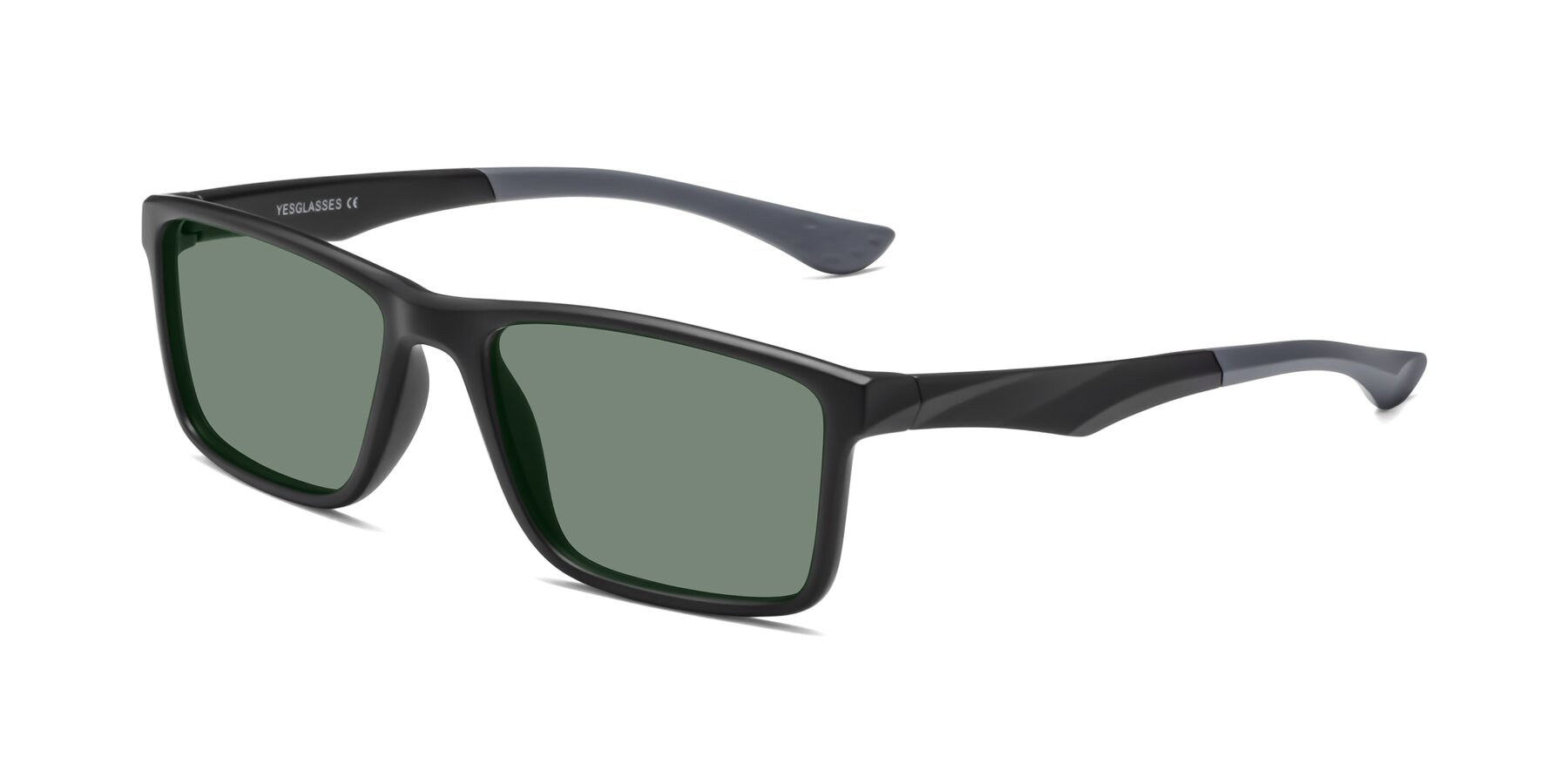 Angle of Engineer in Matte Black-Gray with Medium Green Tinted Lenses
