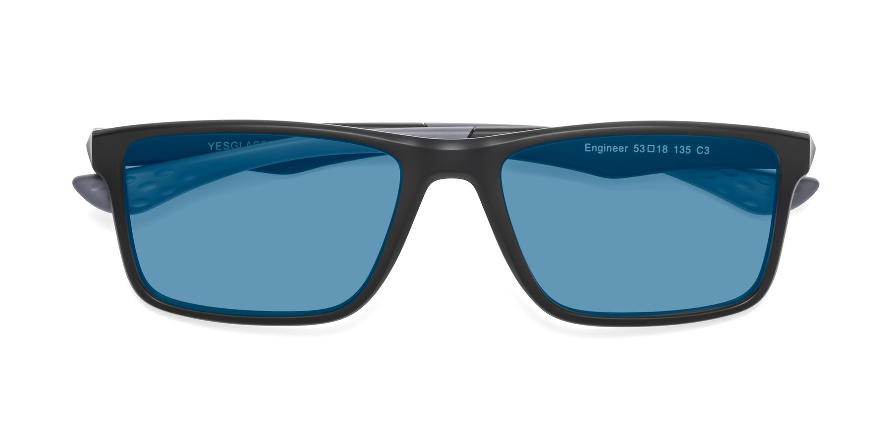 Folded Front of Engineer in Matte Black-Gray with Medium Blue Tinted Lenses