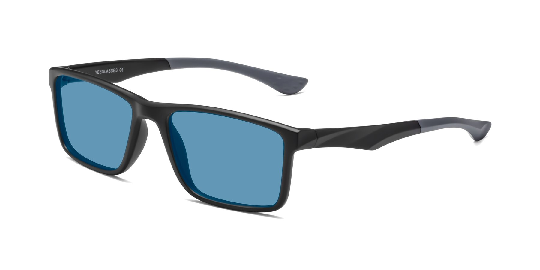 Angle of Engineer in Matte Black-Gray with Medium Blue Tinted Lenses