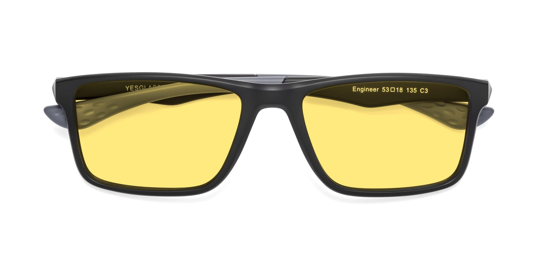Folded Front of Engineer in Matte Black-Gray with Medium Yellow Tinted Lenses