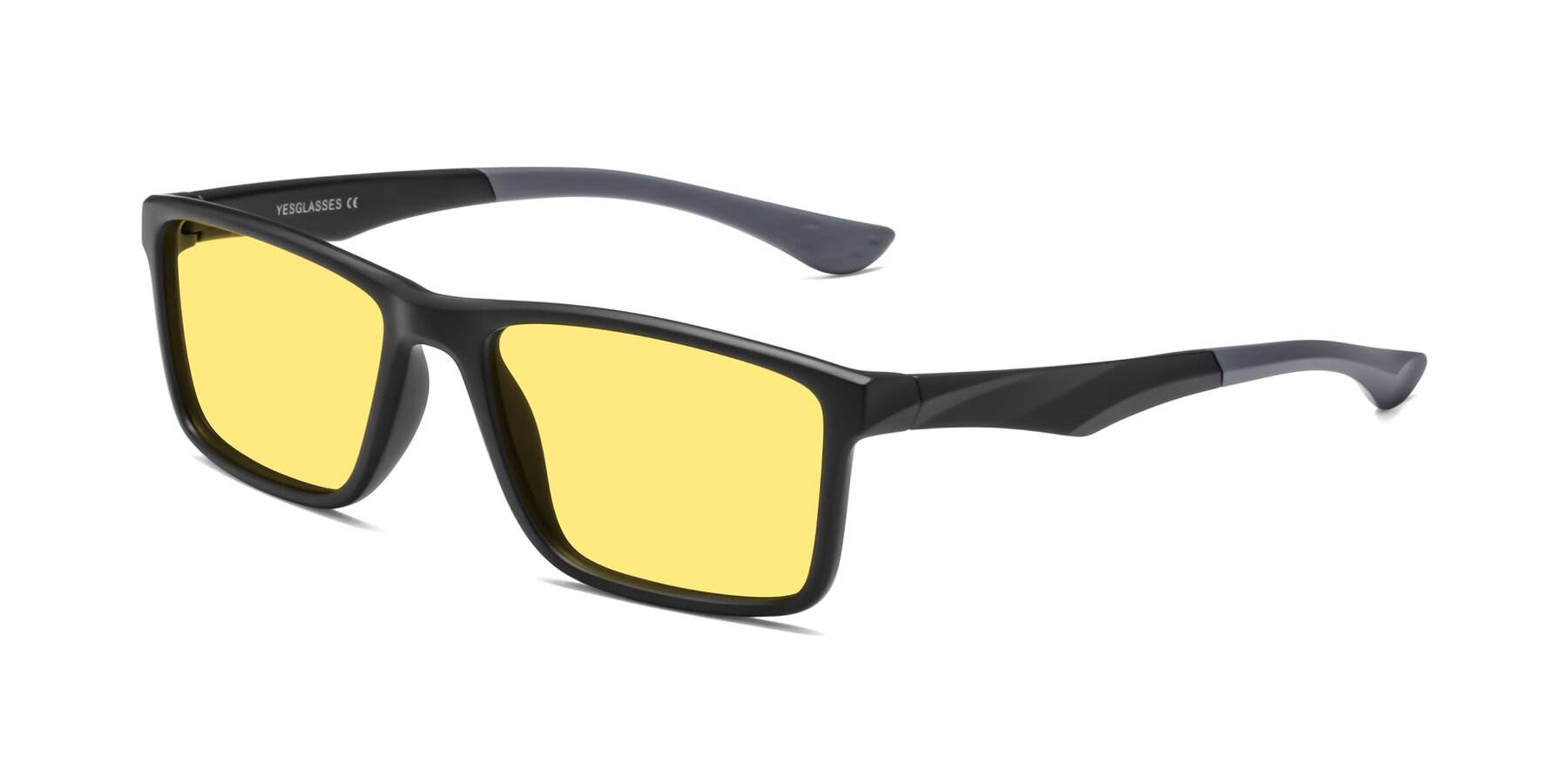Angle of Engineer in Matte Black-Gray with Medium Yellow Tinted Lenses