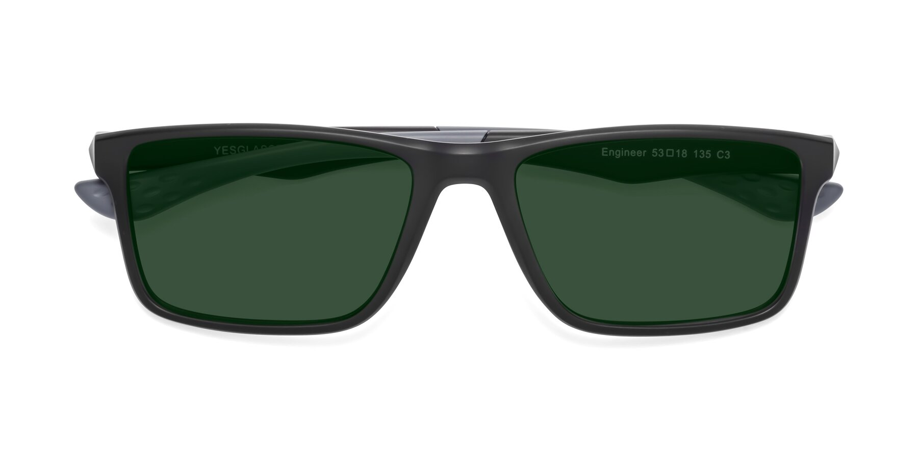 Folded Front of Engineer in Matte Black-Gray with Green Tinted Lenses