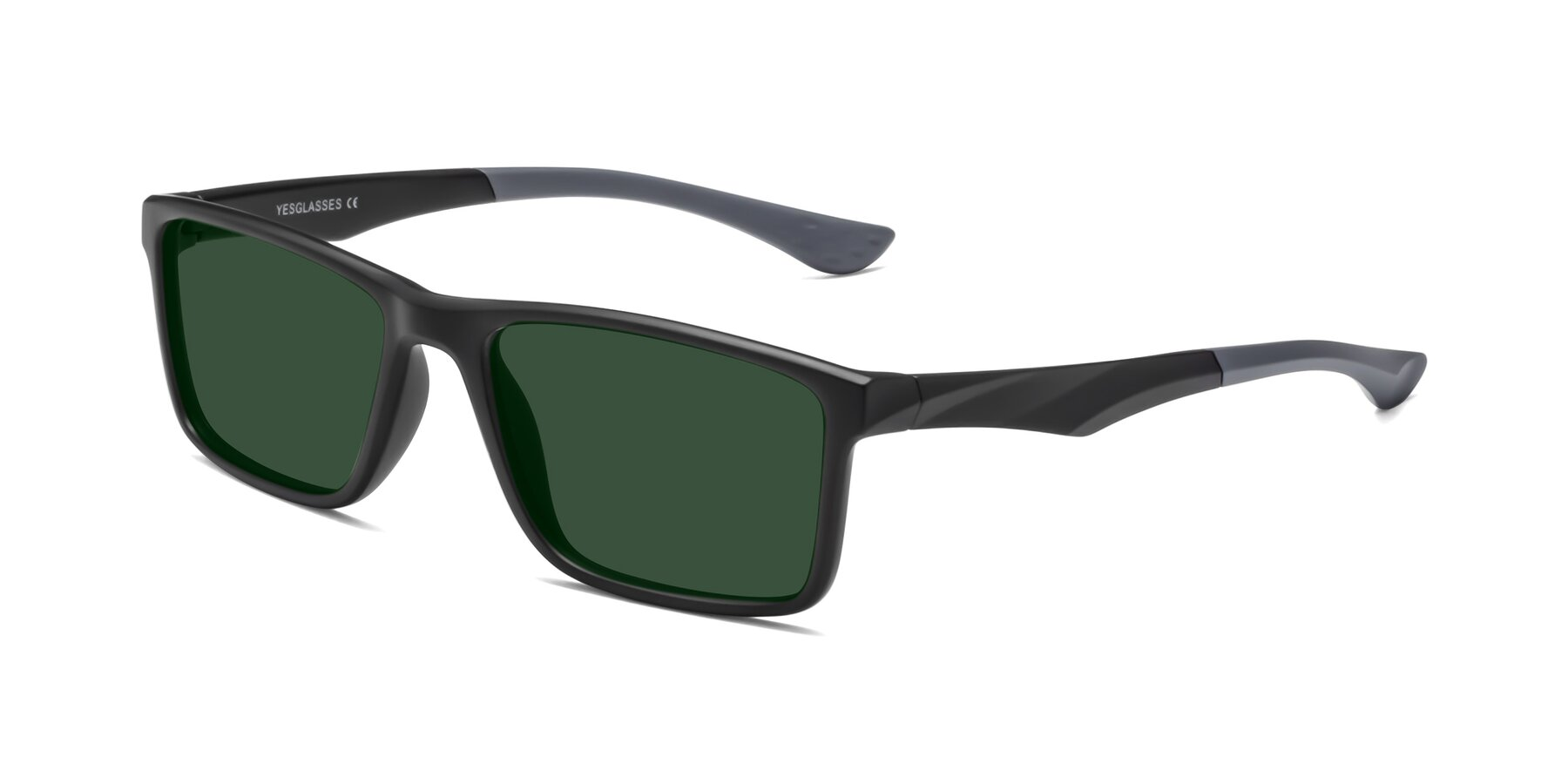 Angle of Engineer in Matte Black-Gray with Green Tinted Lenses