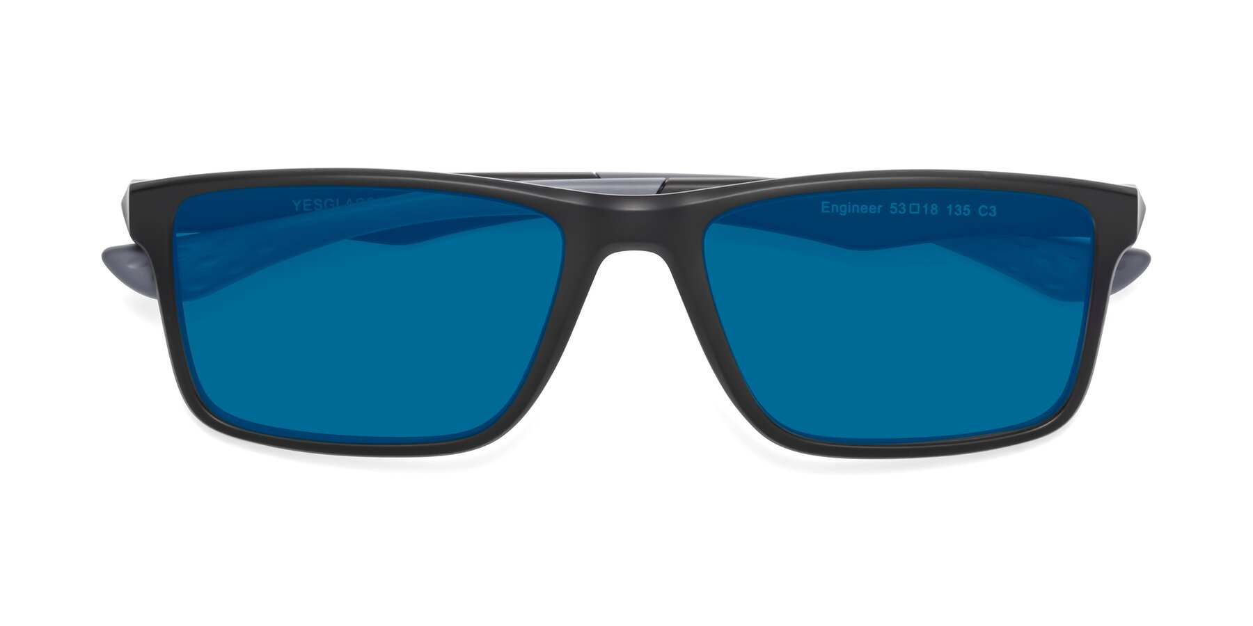 Folded Front of Engineer in Matte Black-Gray with Blue Tinted Lenses
