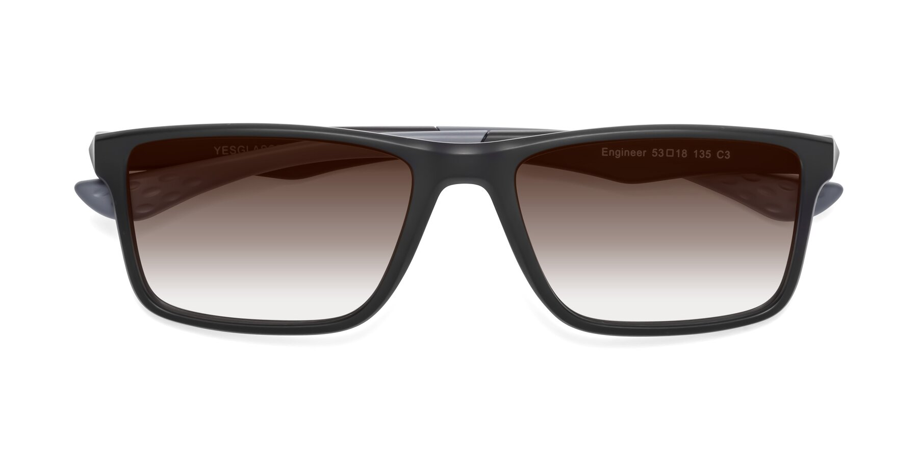 Folded Front of Engineer in Matte Black-Gray with Brown Gradient Lenses