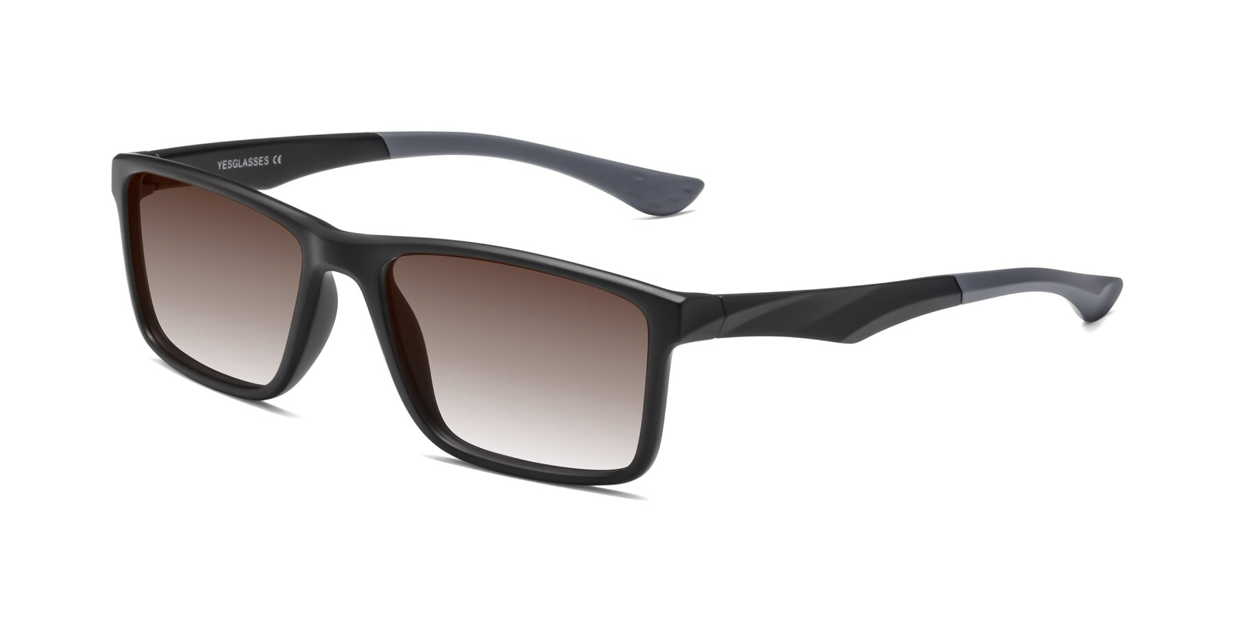 Angle of Engineer in Matte Black-Gray with Brown Gradient Lenses