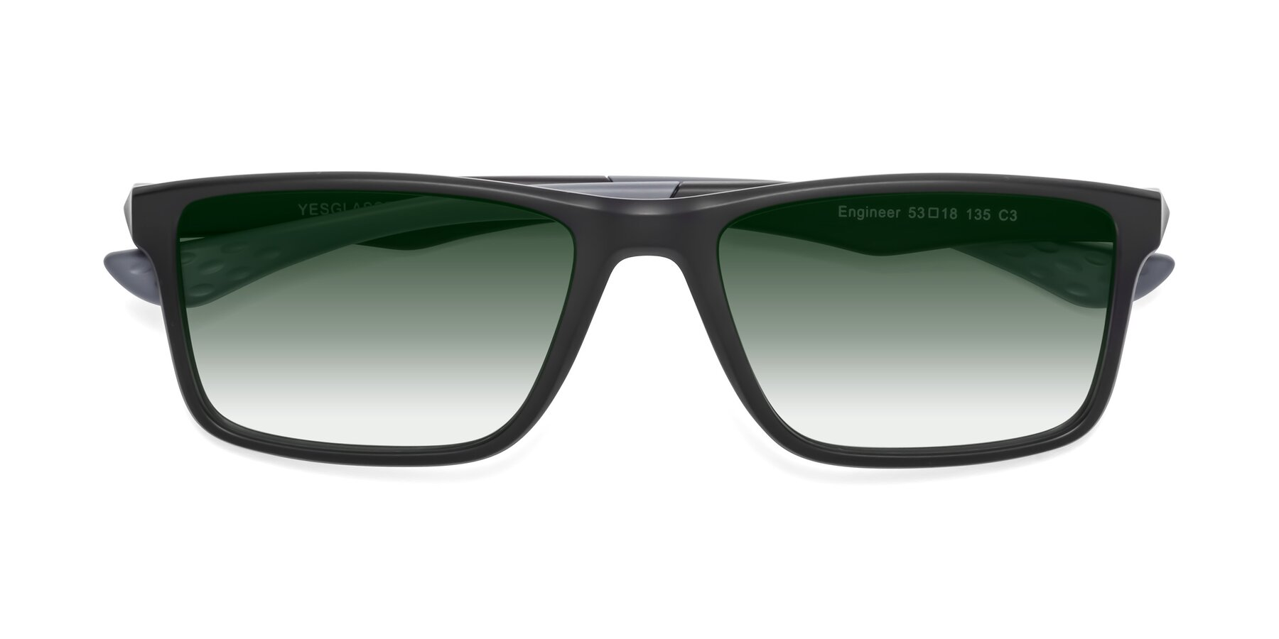 Folded Front of Engineer in Matte Black-Gray with Green Gradient Lenses