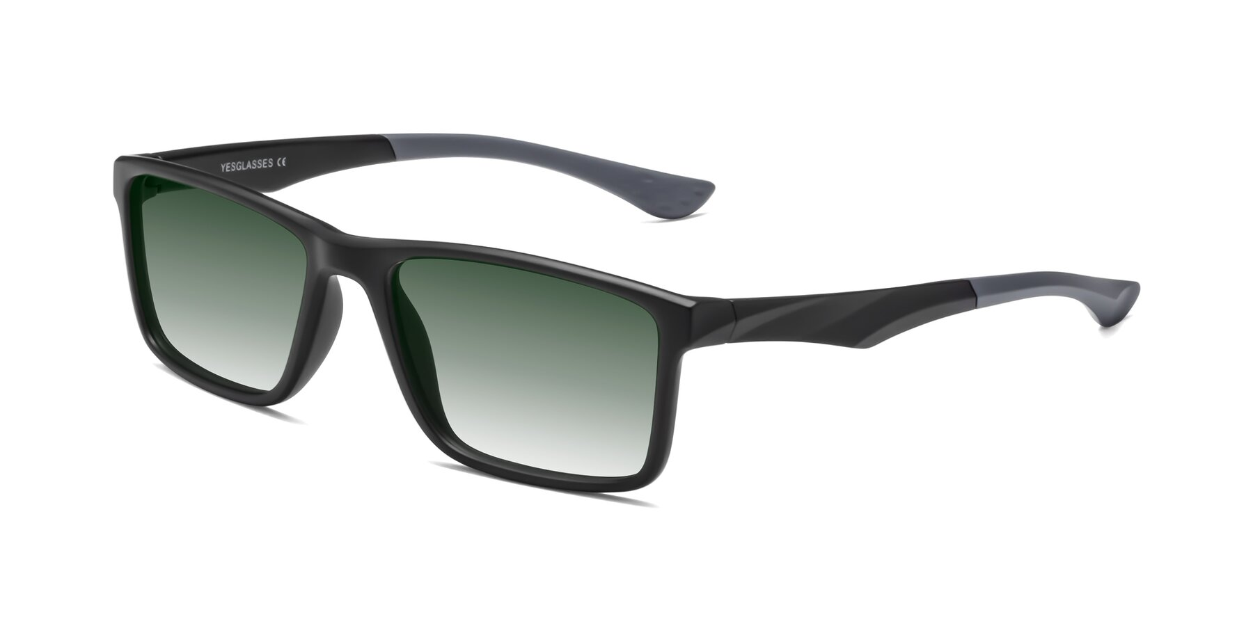 Angle of Engineer in Matte Black-Gray with Green Gradient Lenses