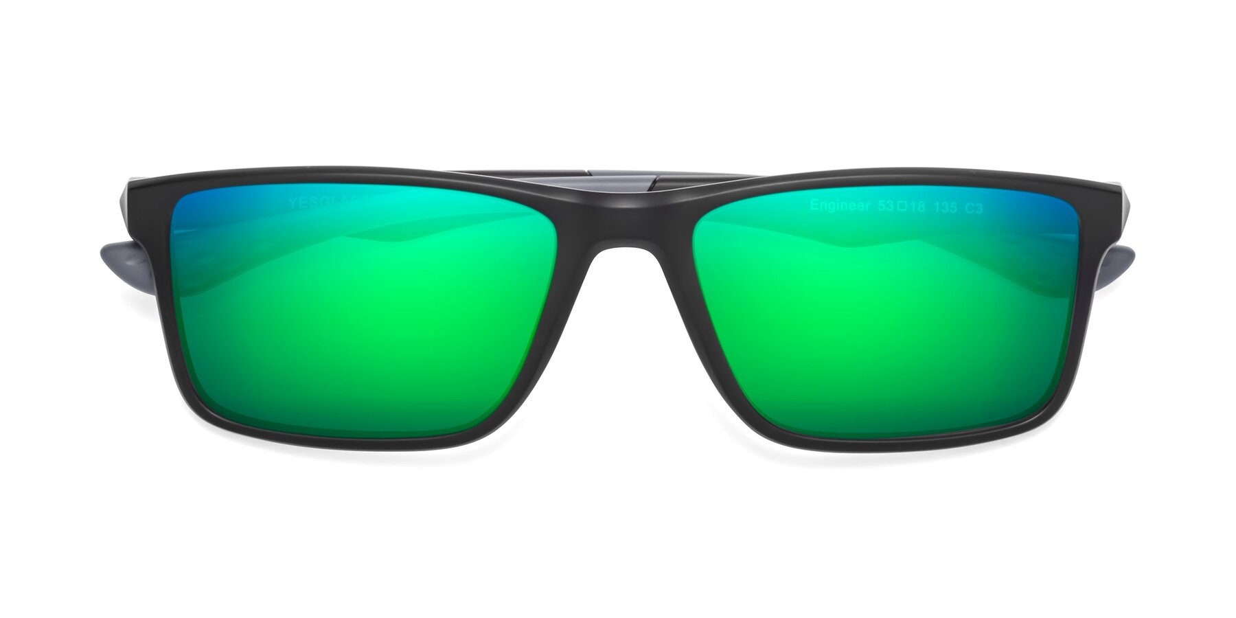 Folded Front of Engineer in Matte Black-Gray with Green Mirrored Lenses