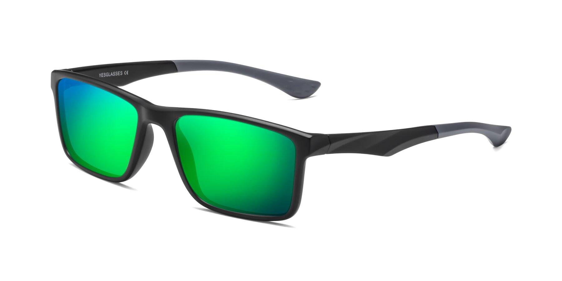 Angle of Engineer in Matte Black-Gray with Green Mirrored Lenses