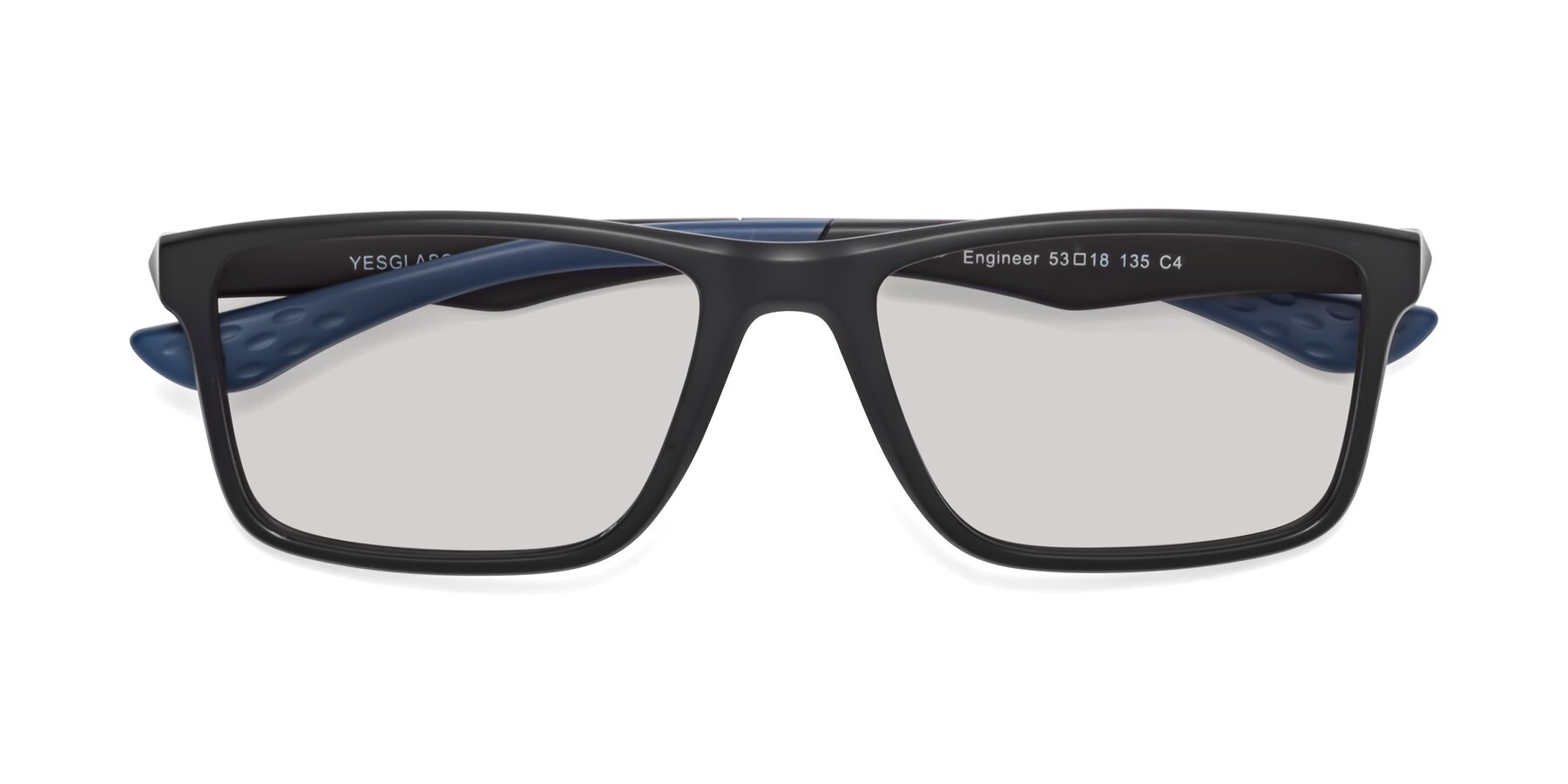 Folded Front of Engineer in Matte Black-Blue with Light Gray Tinted Lenses