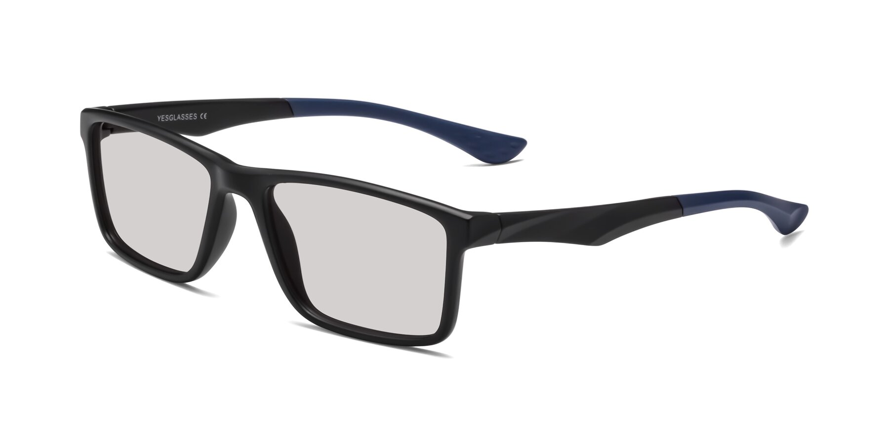 Angle of Engineer in Matte Black-Blue with Light Gray Tinted Lenses