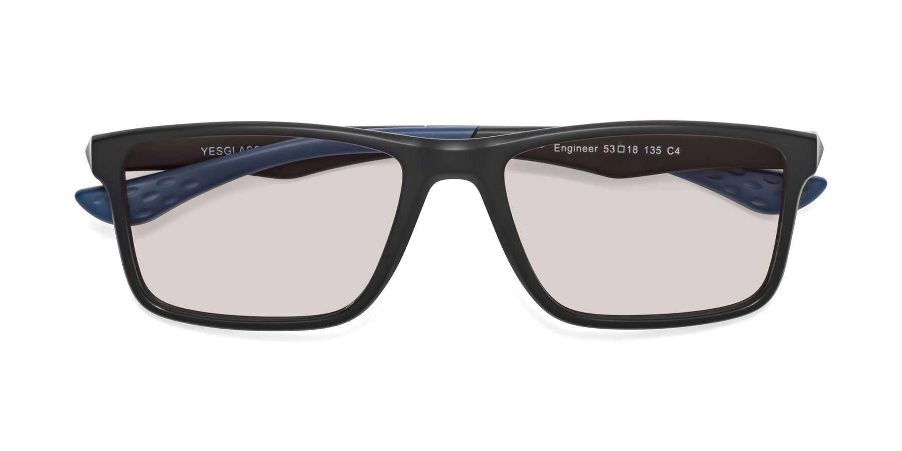Folded Front of Engineer in Matte Black-Blue with Light Brown Tinted Lenses