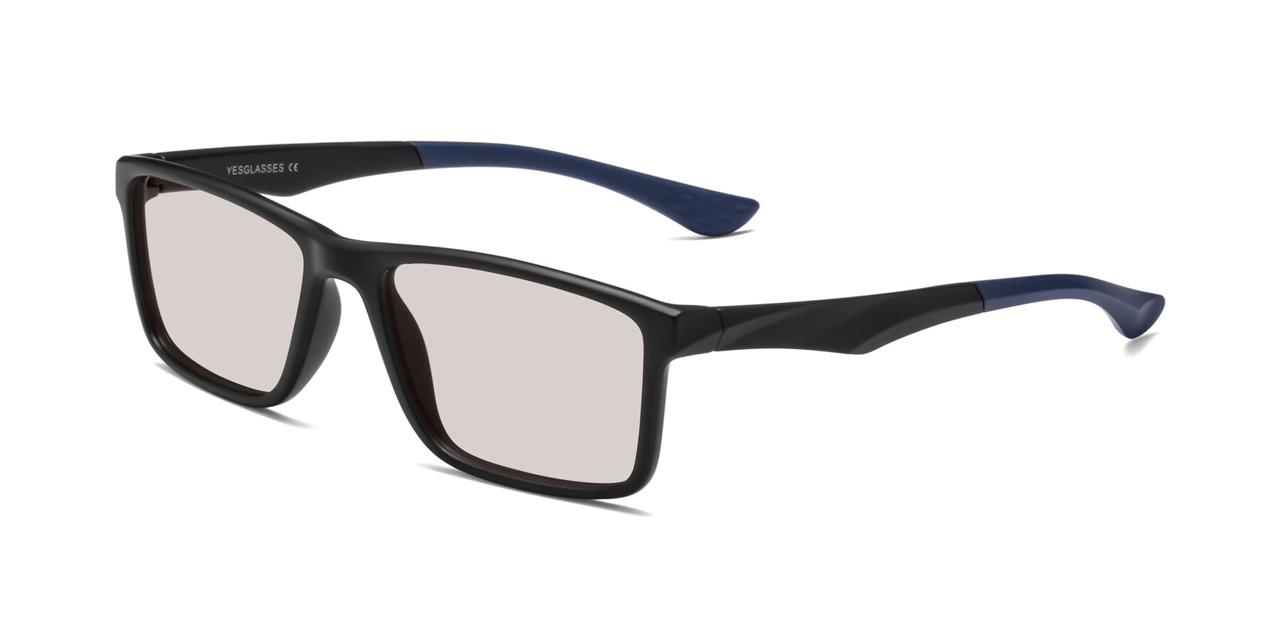 Angle of Engineer in Matte Black-Blue with Light Brown Tinted Lenses