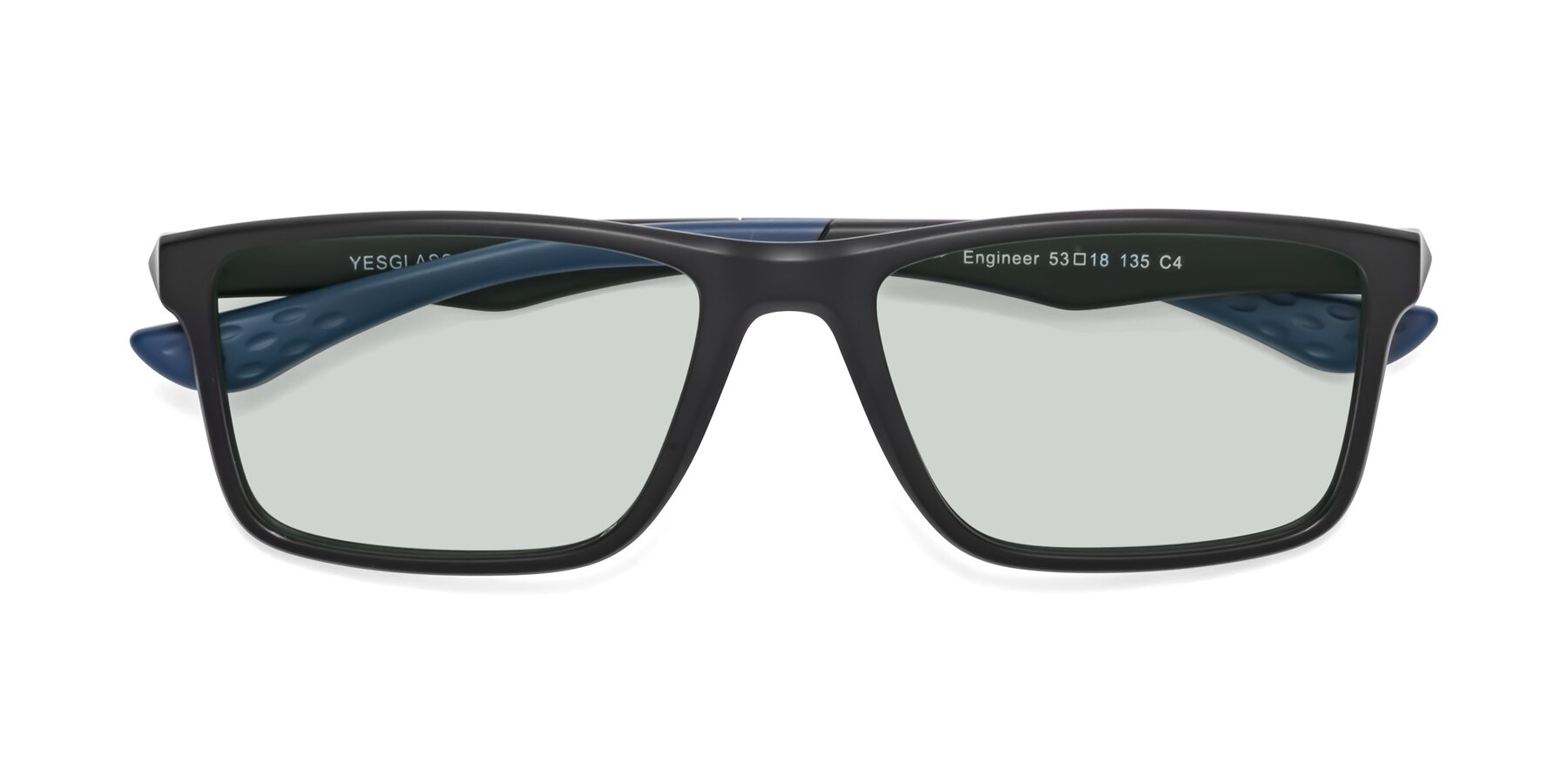 Folded Front of Engineer in Matte Black-Blue with Light Green Tinted Lenses