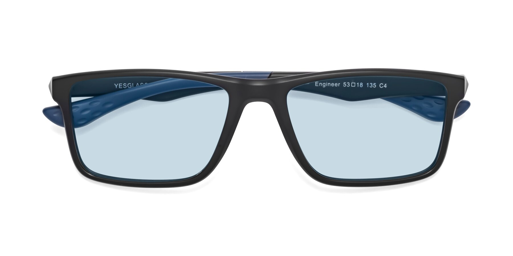 Folded Front of Engineer in Matte Black-Blue with Light Blue Tinted Lenses