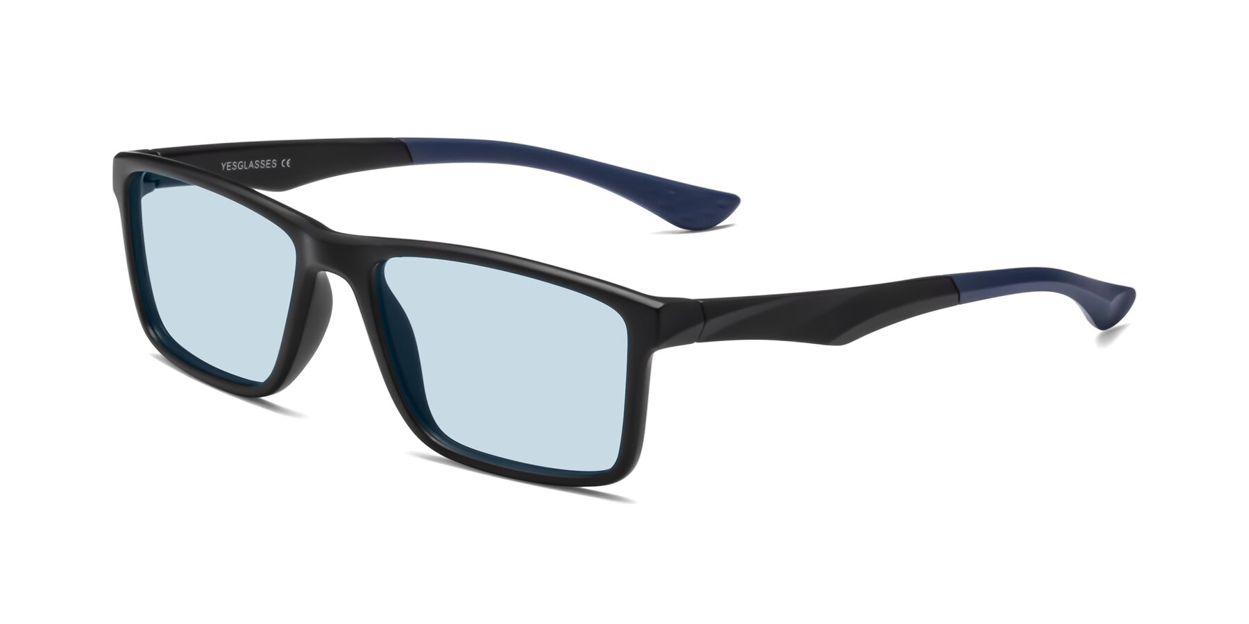 Angle of Engineer in Matte Black-Blue with Light Blue Tinted Lenses