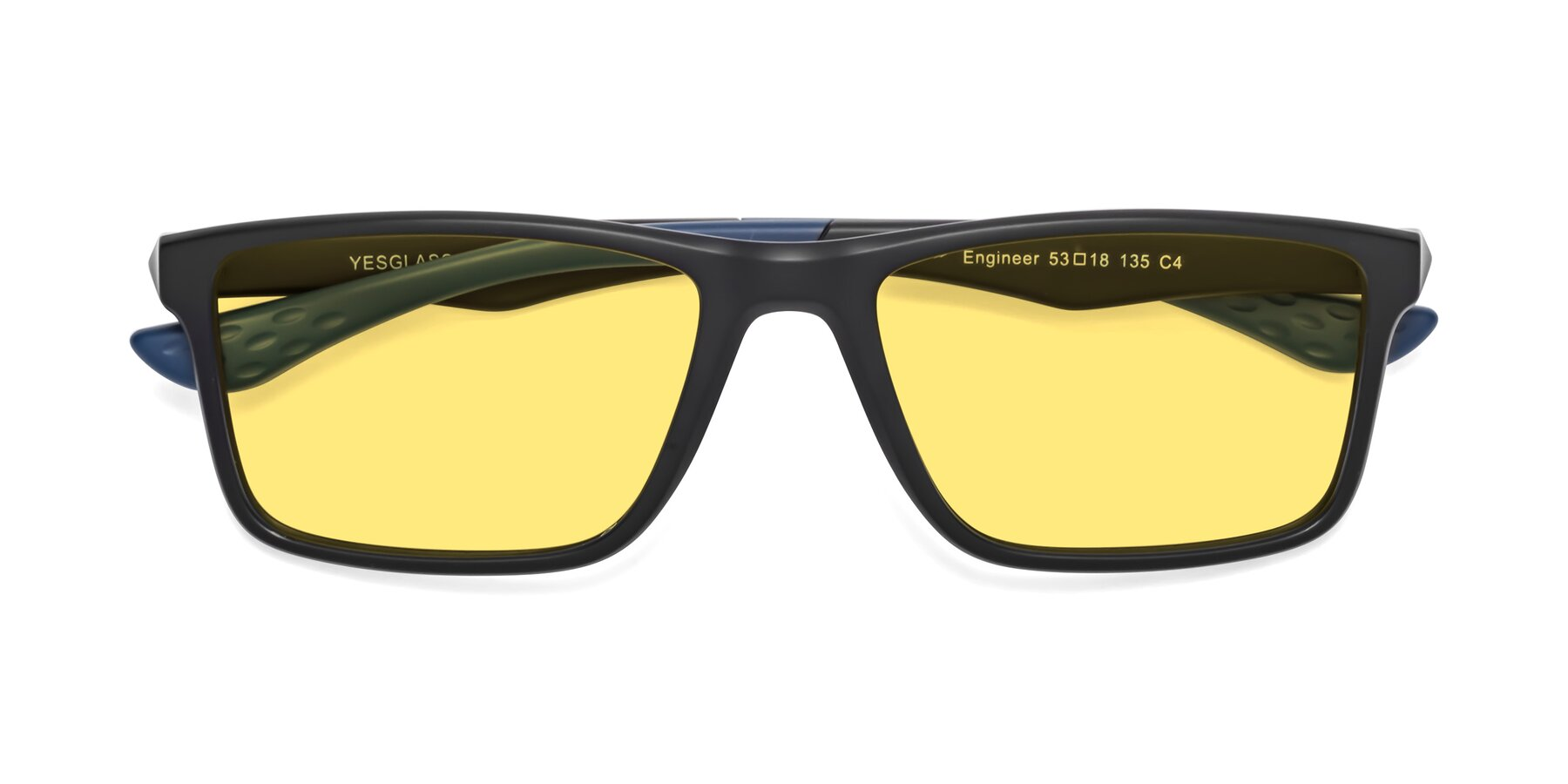 Folded Front of Engineer in Matte Black-Blue with Medium Yellow Tinted Lenses