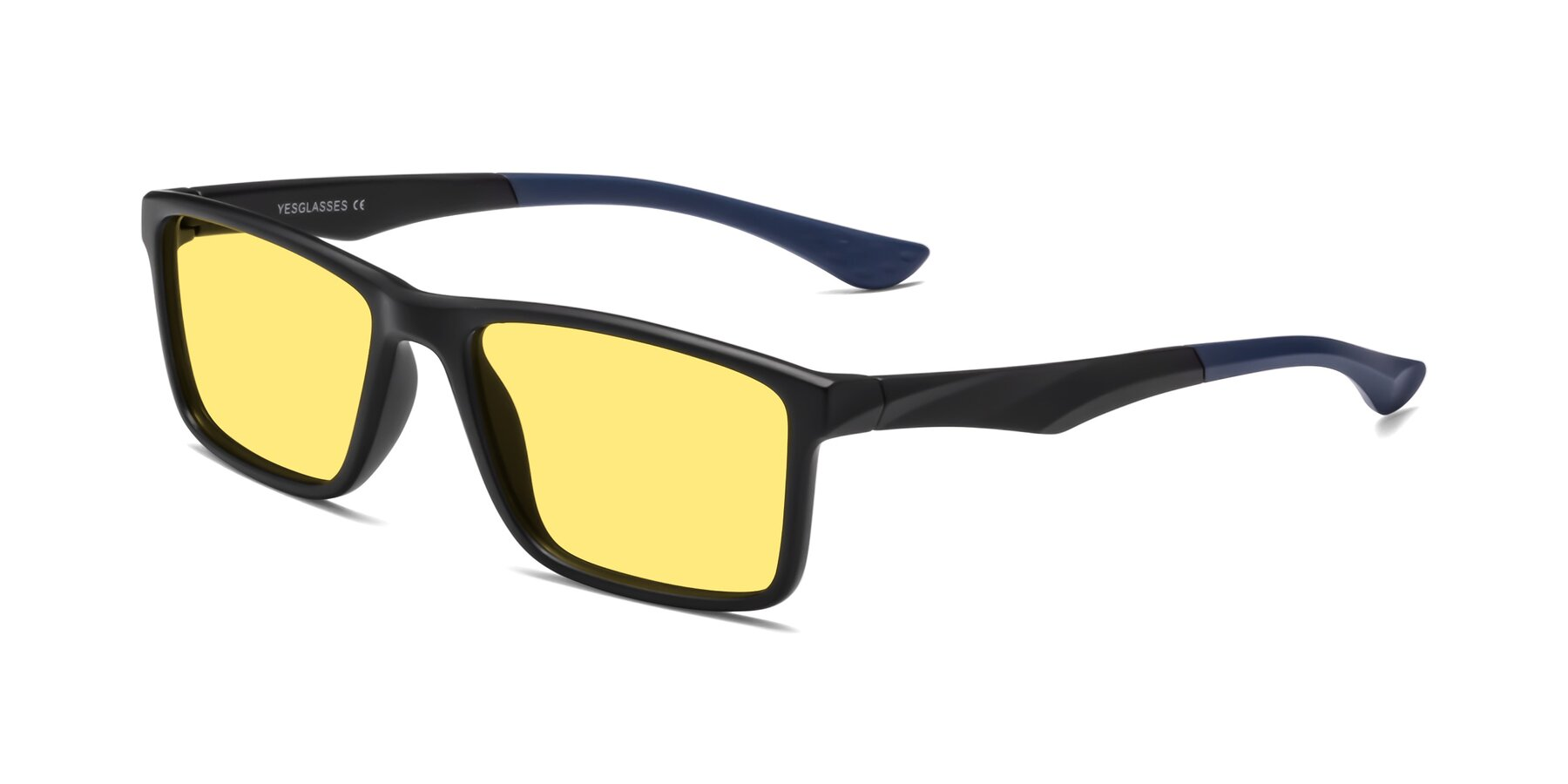 Angle of Engineer in Matte Black-Blue with Medium Yellow Tinted Lenses