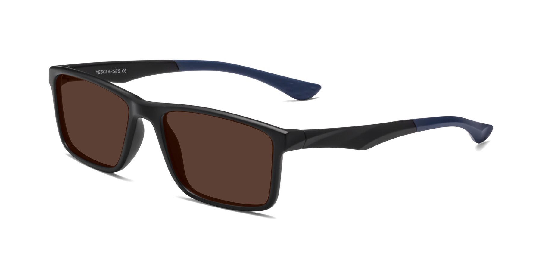 Angle of Engineer in Matte Black-Blue with Brown Tinted Lenses