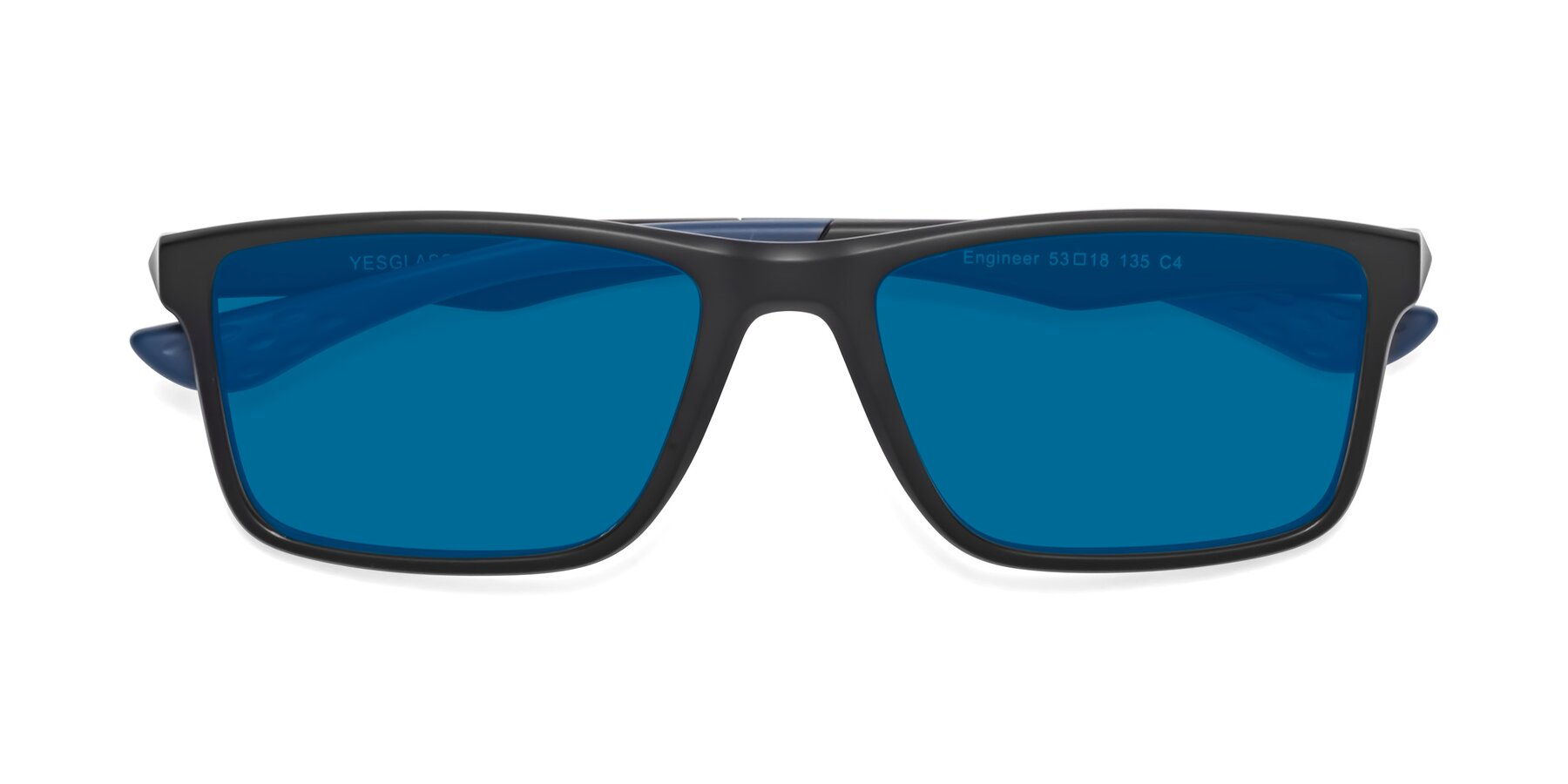 Folded Front of Engineer in Matte Black-Blue with Blue Tinted Lenses