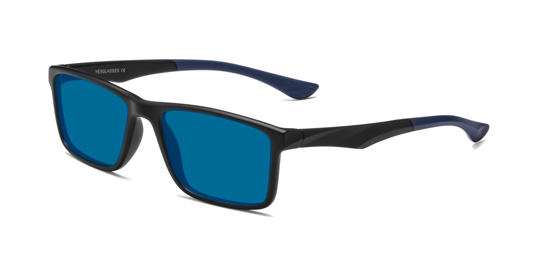 Angle of Engineer in Matte Black-Blue with Blue Tinted Lenses