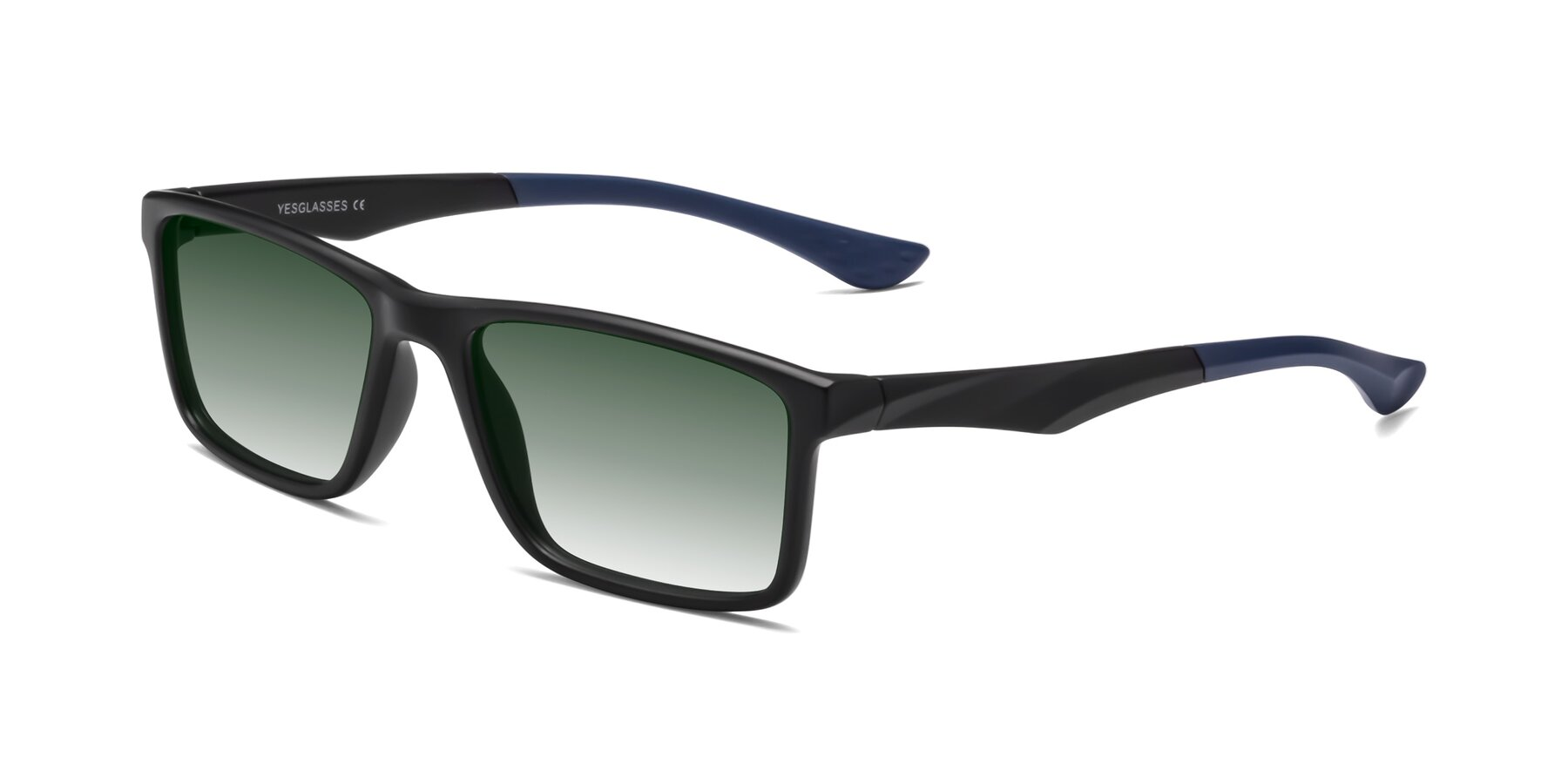 Angle of Engineer in Matte Black-Blue with Green Gradient Lenses