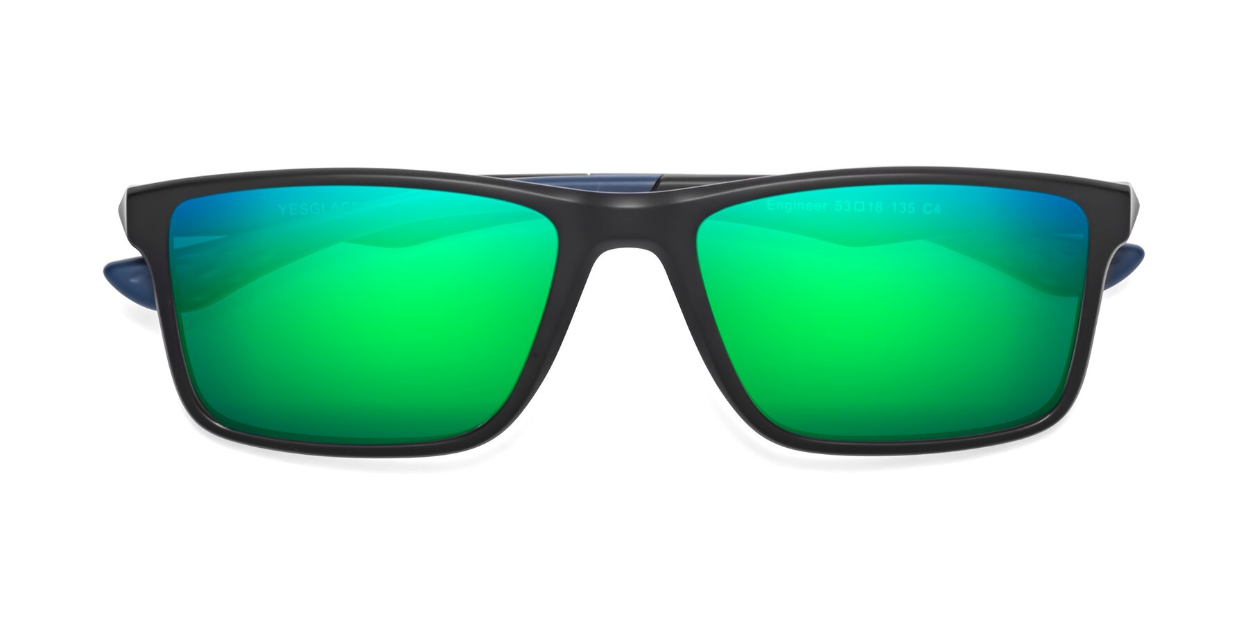 Folded Front of Engineer in Matte Black-Blue with Green Mirrored Lenses