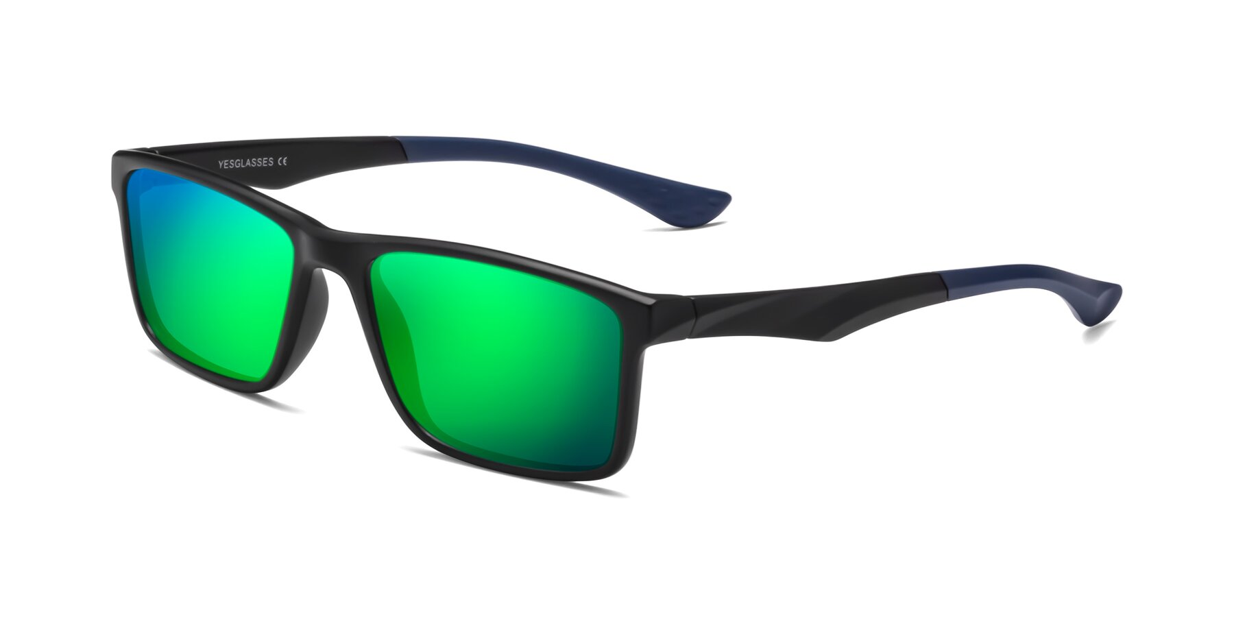 Angle of Engineer in Matte Black-Blue with Green Mirrored Lenses
