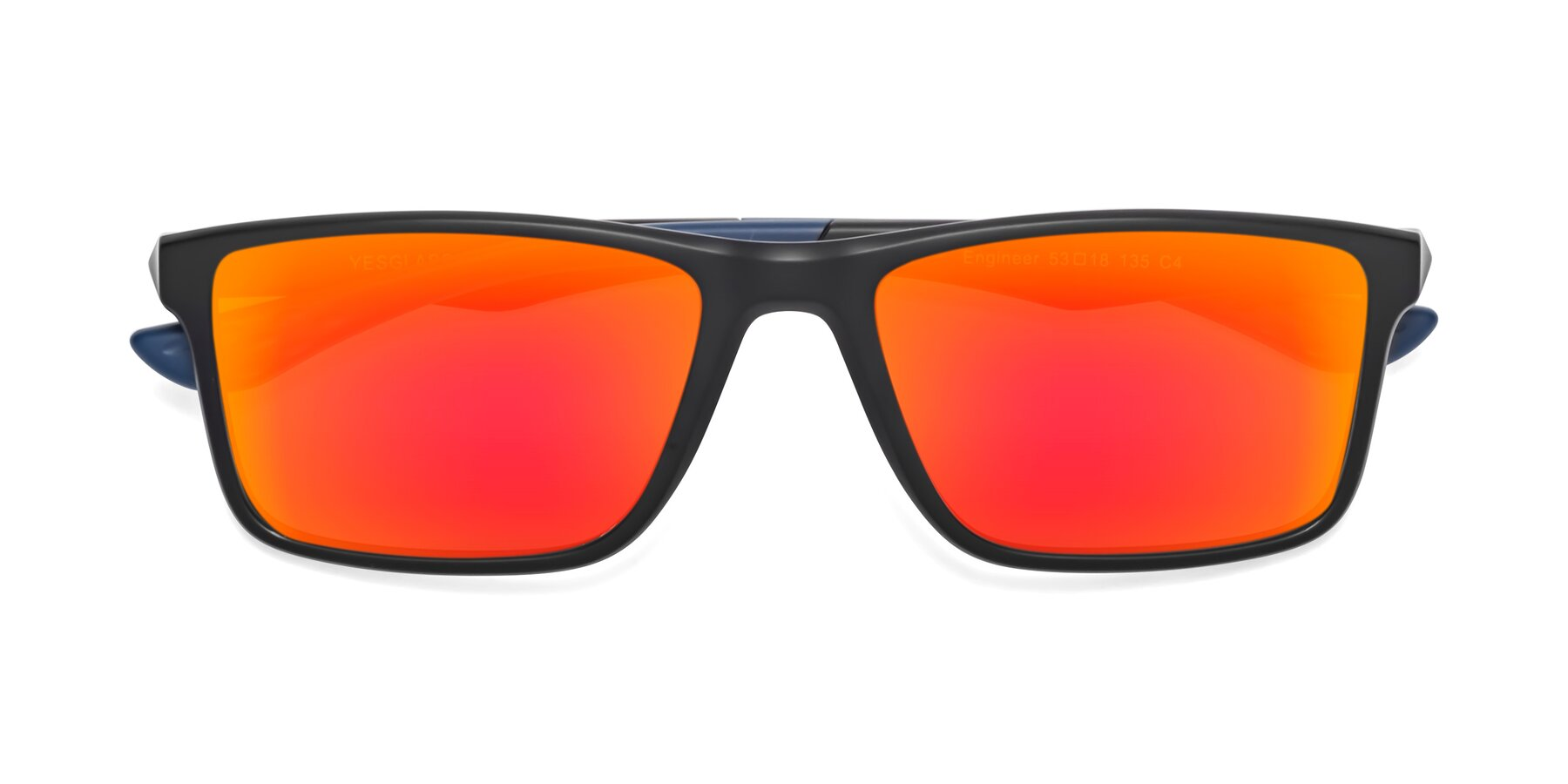 Folded Front of Engineer in Matte Black-Blue with Red Gold Mirrored Lenses