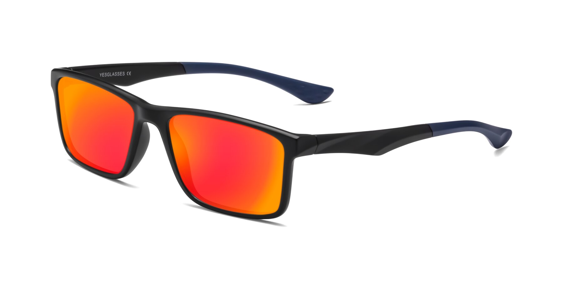 Angle of Engineer in Matte Black-Blue with Red Gold Mirrored Lenses