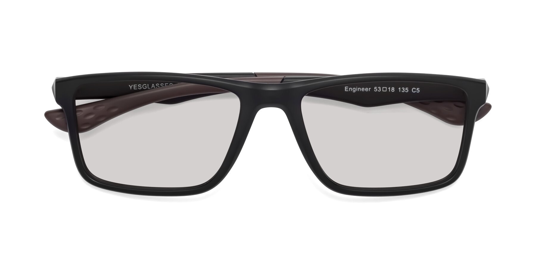Folded Front of Engineer in Matte Black-Coffee with Light Gray Tinted Lenses
