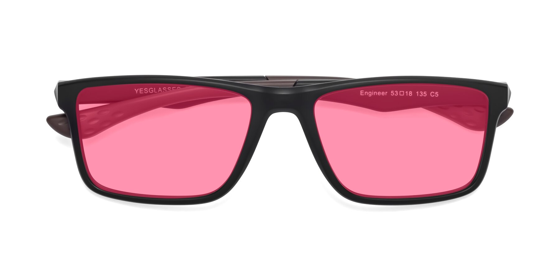 Folded Front of Engineer in Matte Black-Coffee with Pink Tinted Lenses