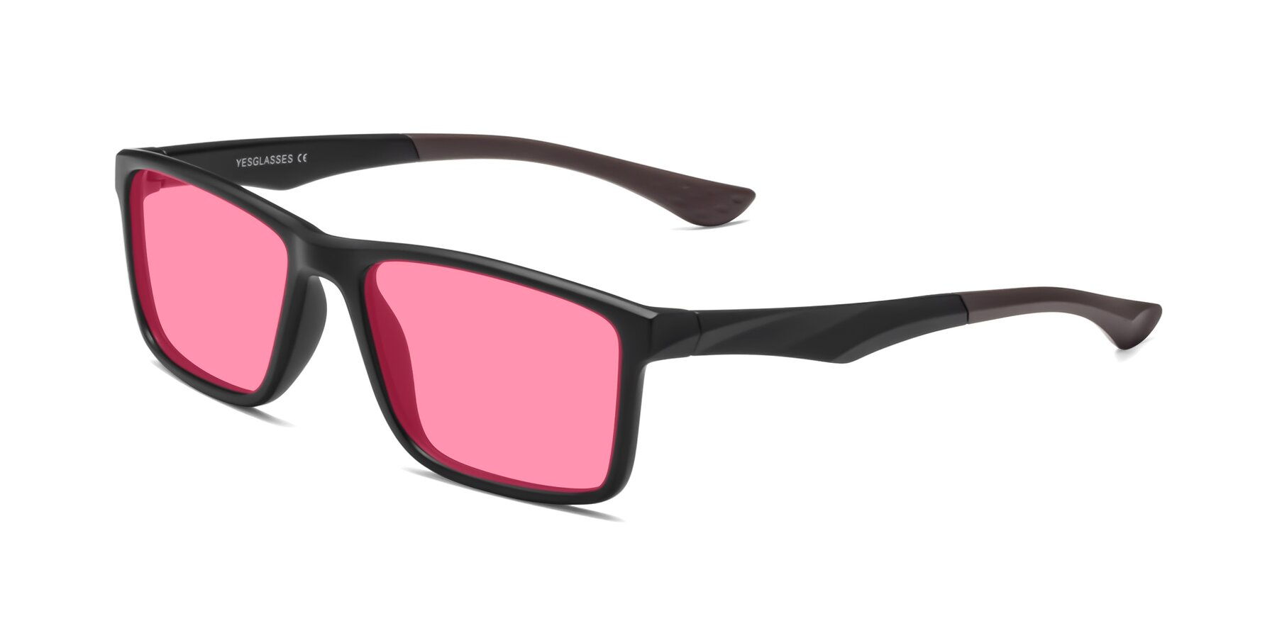 Angle of Engineer in Matte Black-Coffee with Pink Tinted Lenses