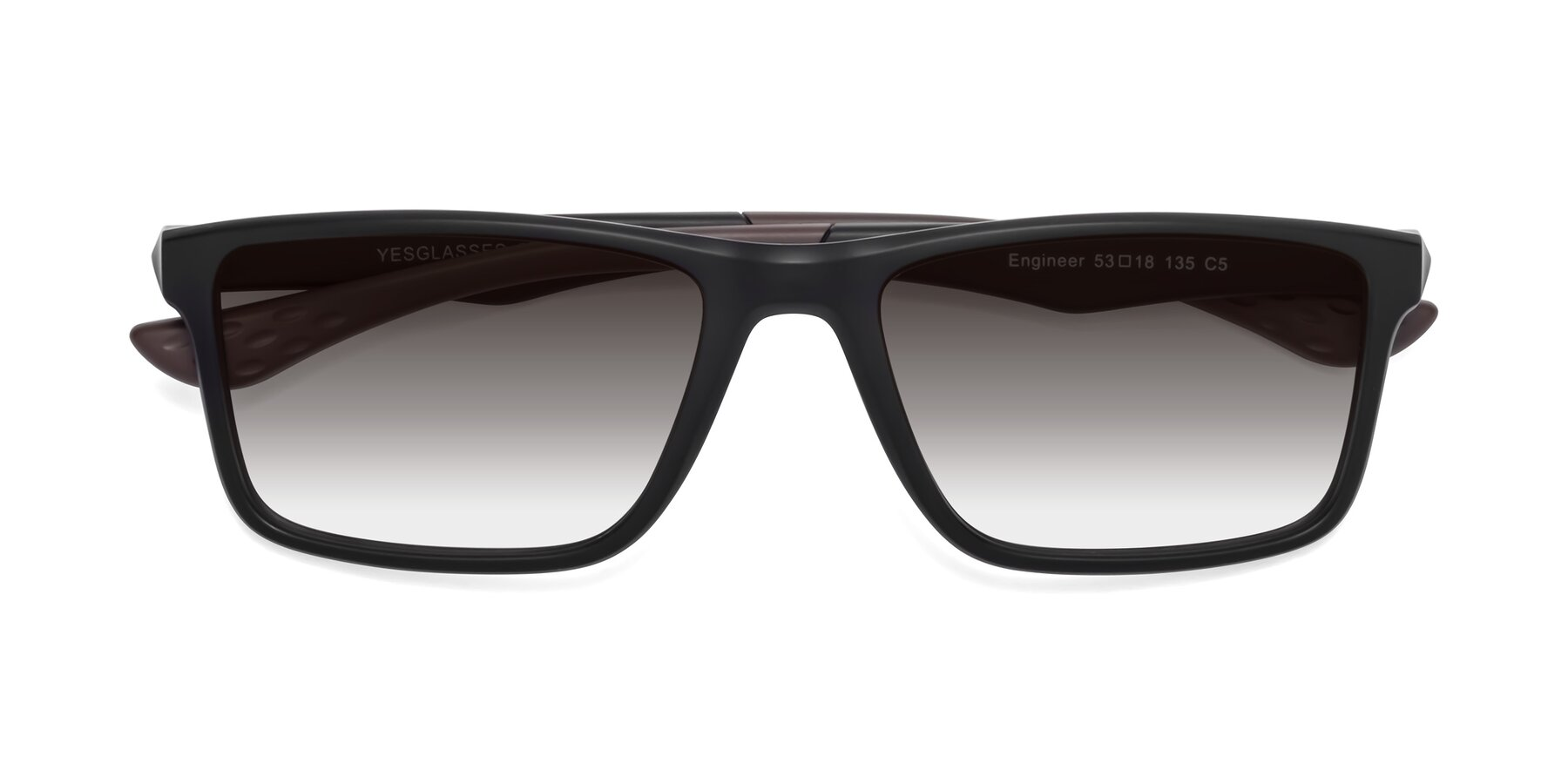 Folded Front of Engineer in Matte Black-Coffee with Gray Gradient Lenses