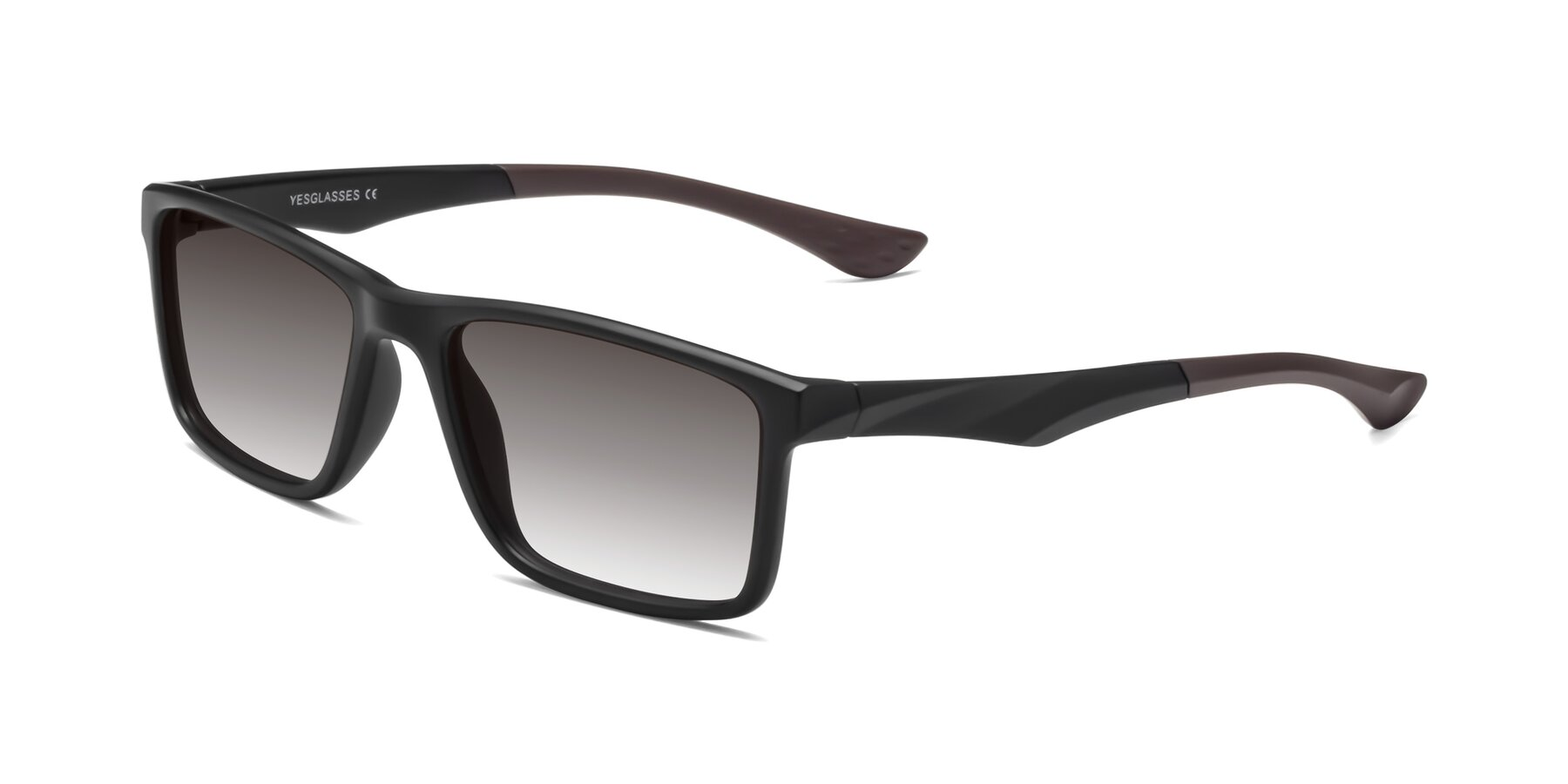 Angle of Engineer in Matte Black-Coffee with Gray Gradient Lenses