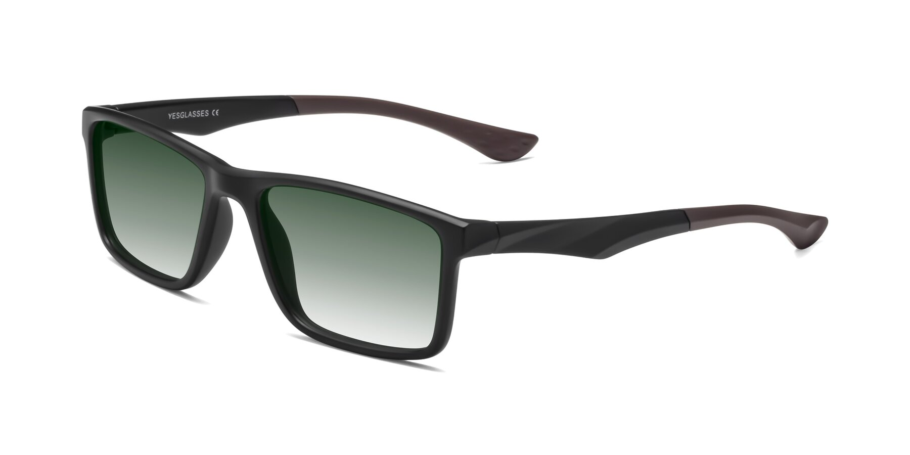 Angle of Engineer in Matte Black-Coffee with Green Gradient Lenses