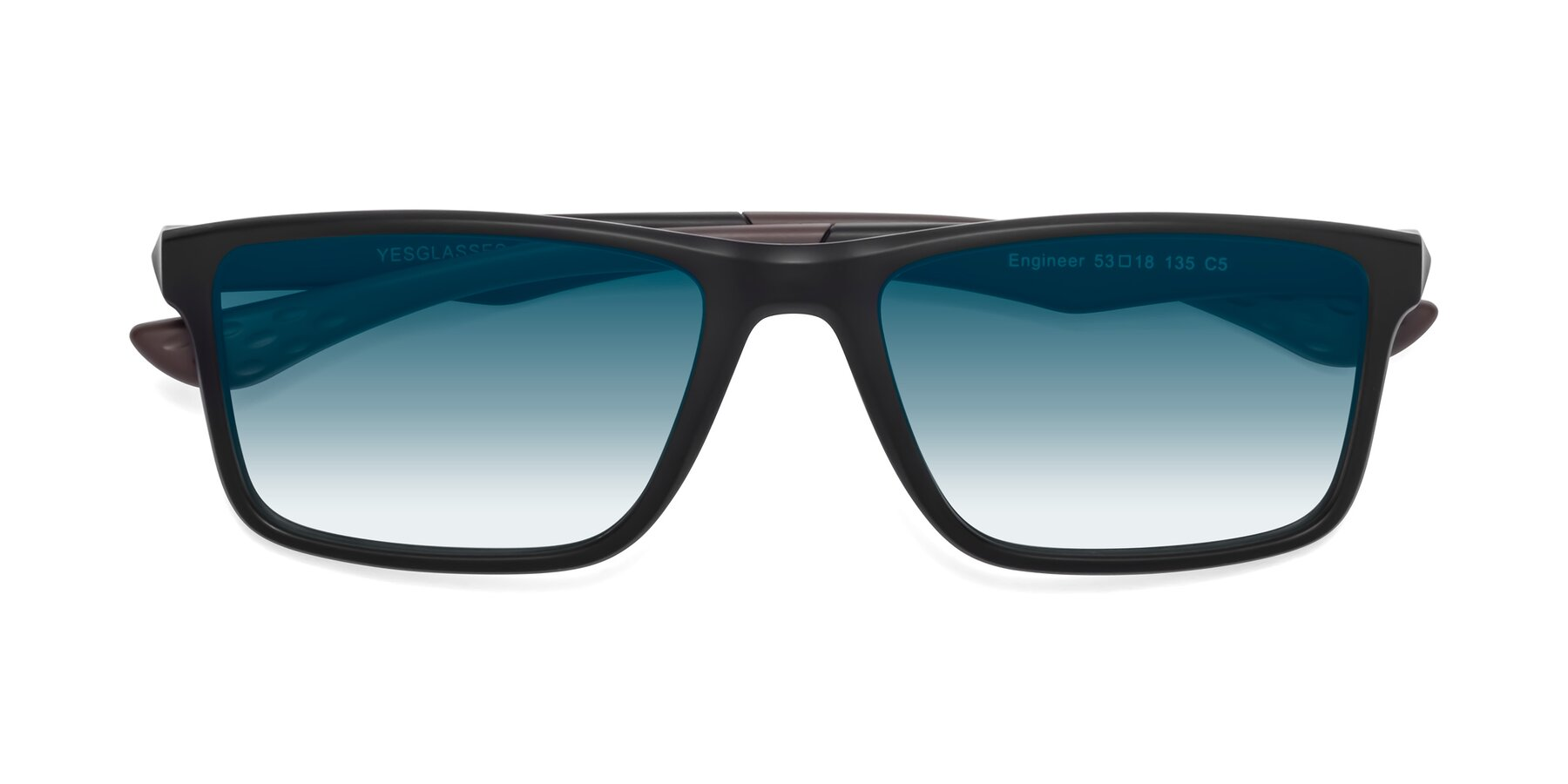 Folded Front of Engineer in Matte Black-Coffee with Blue Gradient Lenses