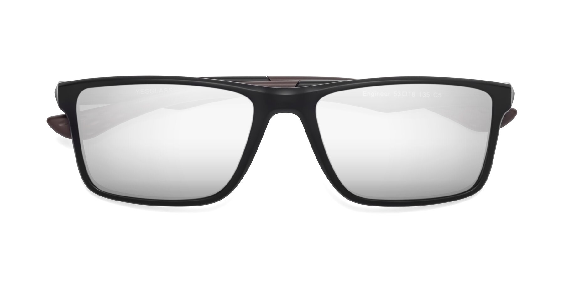 Folded Front of Engineer in Matte Black-Coffee with Silver Mirrored Lenses