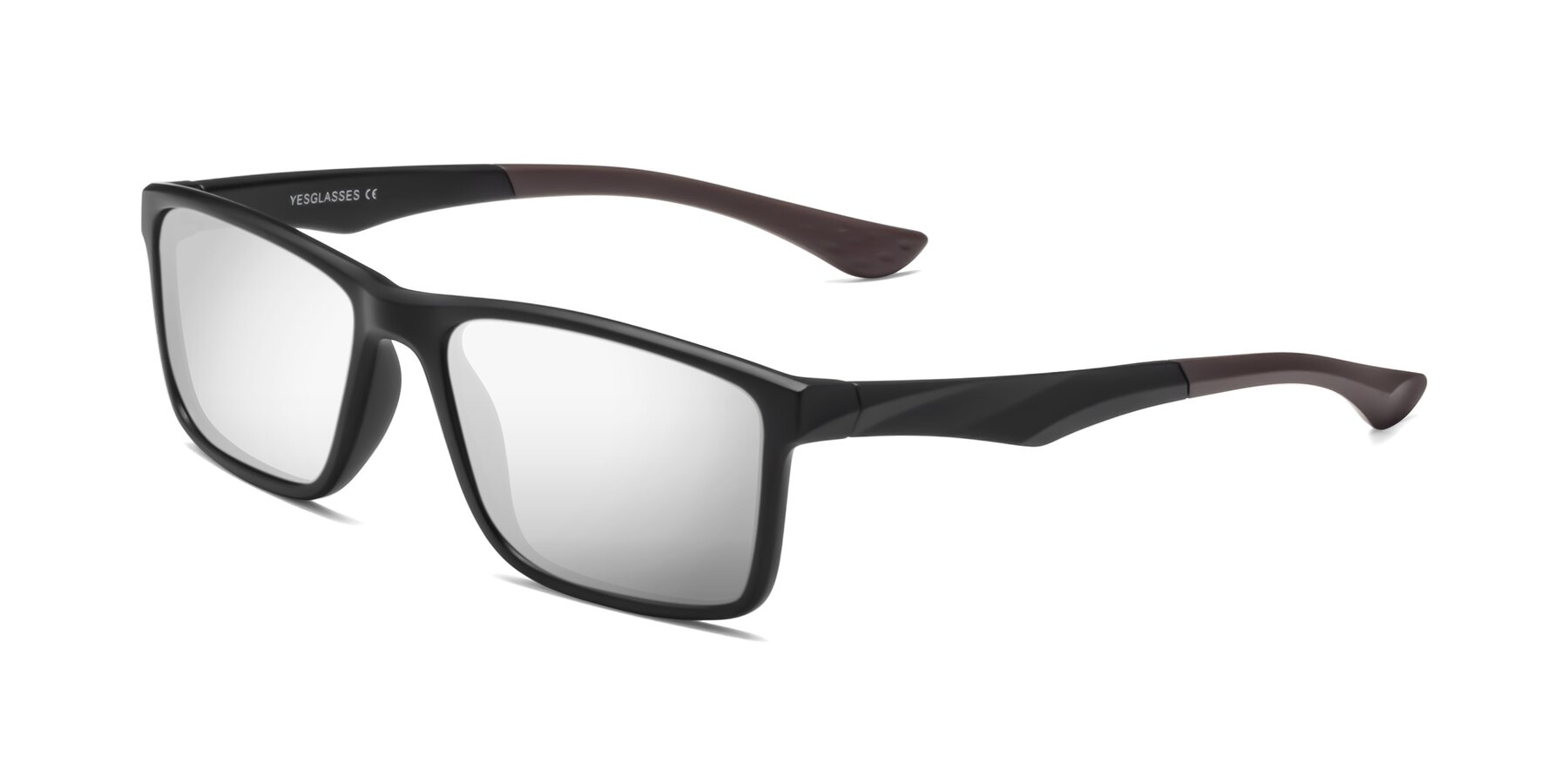 Angle of Engineer in Matte Black-Coffee with Silver Mirrored Lenses