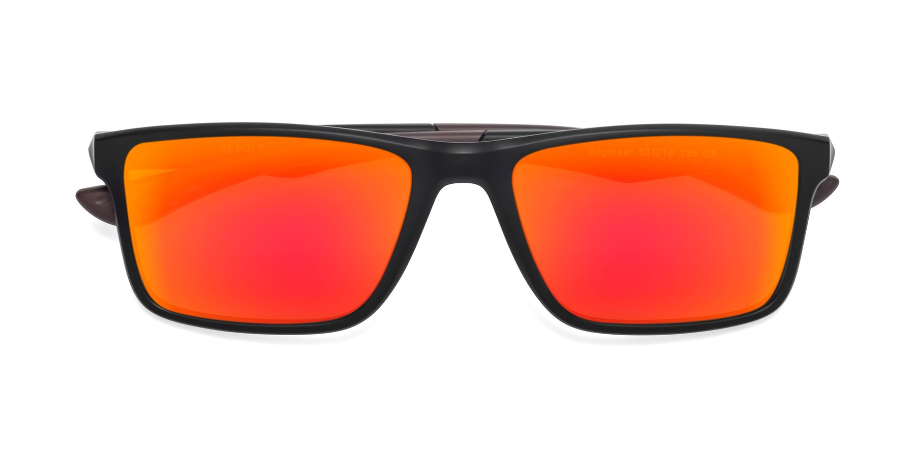 Folded Front of Engineer in Matte Black-Coffee with Red Gold Mirrored Lenses