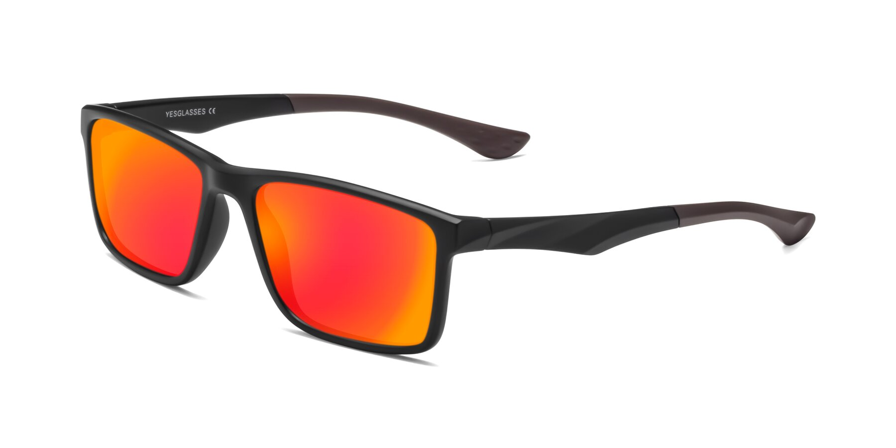 Angle of Engineer in Matte Black-Coffee with Red Gold Mirrored Lenses