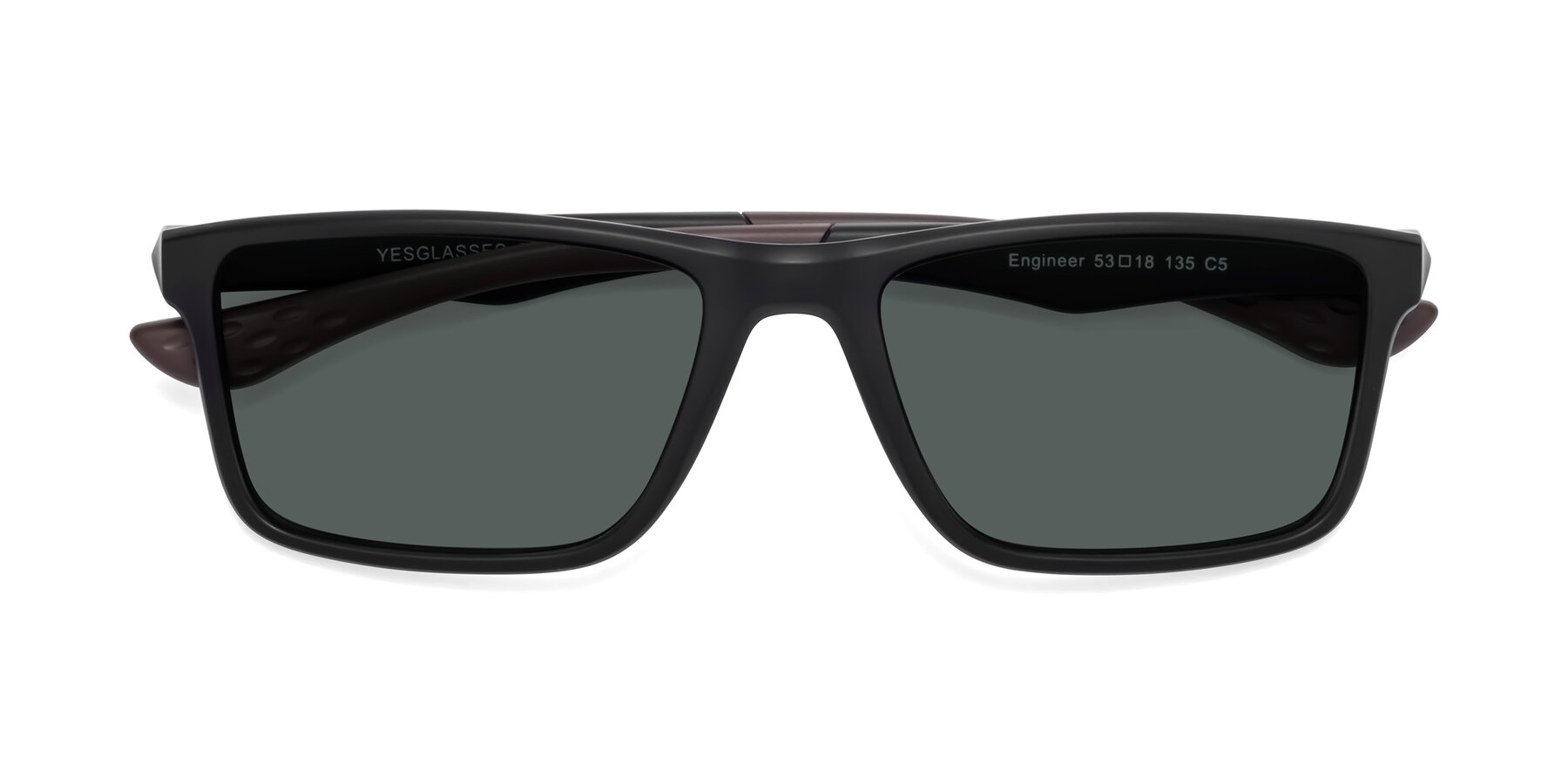 Folded Front of Engineer in Matte Black-Coffee with Gray Polarized Lenses