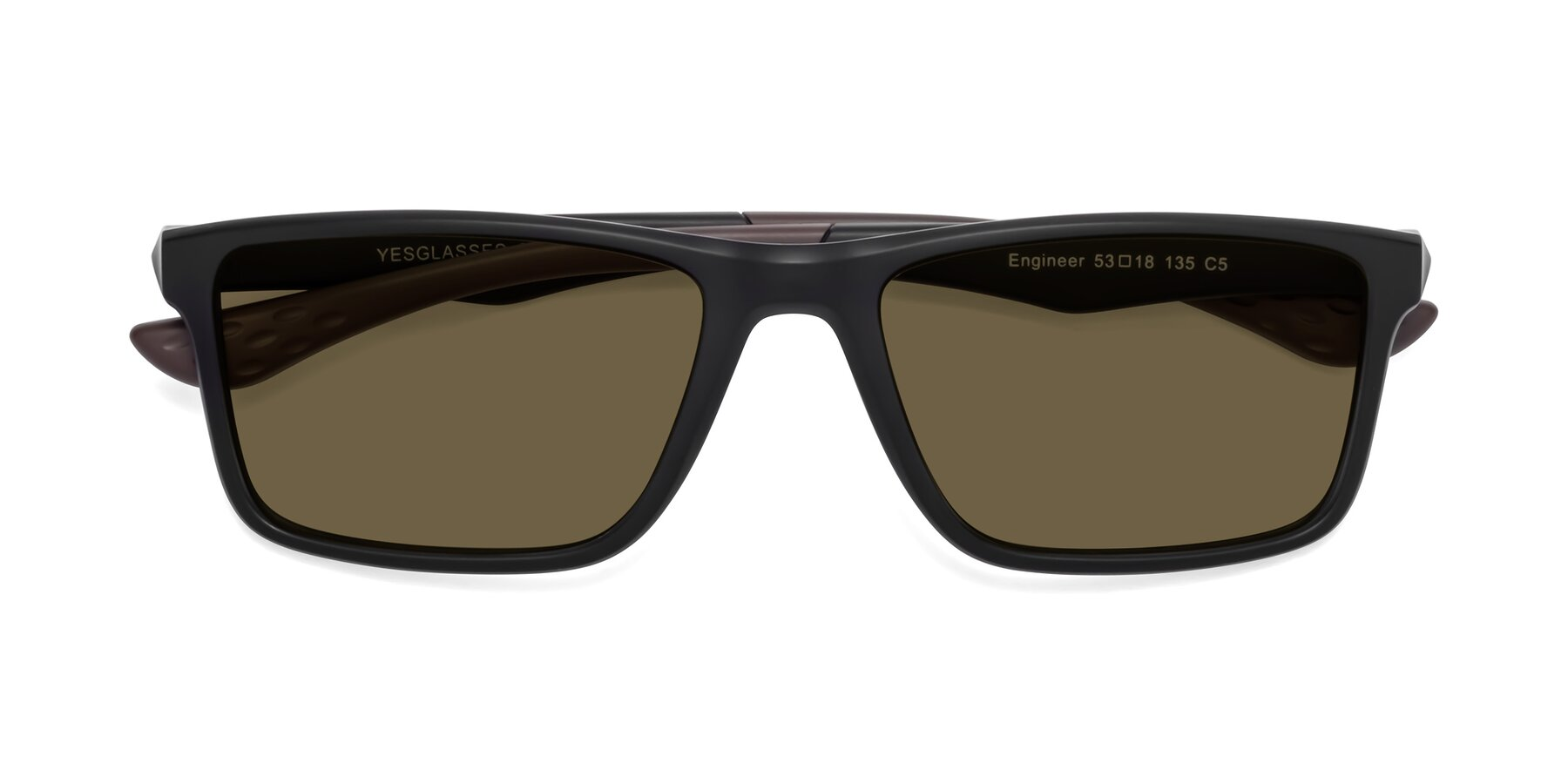 Folded Front of Engineer in Matte Black-Coffee with Brown Polarized Lenses