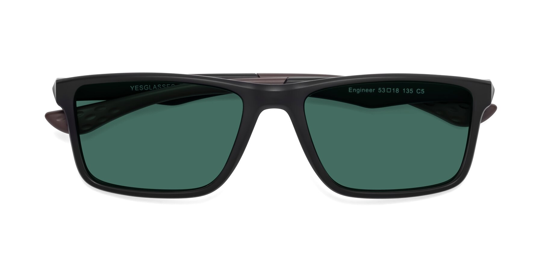 Folded Front of Engineer in Matte Black-Coffee with Green Polarized Lenses