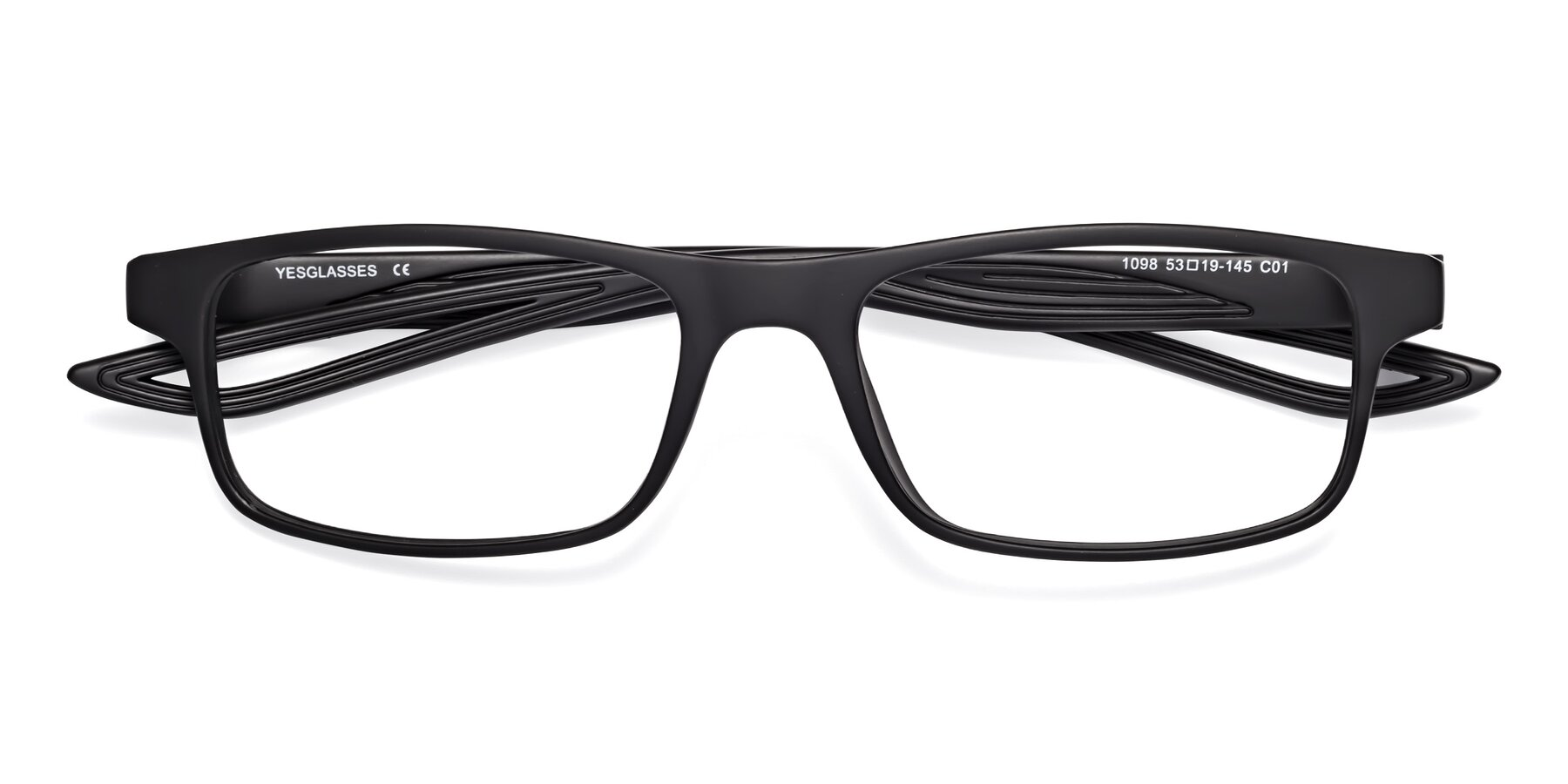 Folded Front of Bill in Matte Black with Clear Eyeglass Lenses